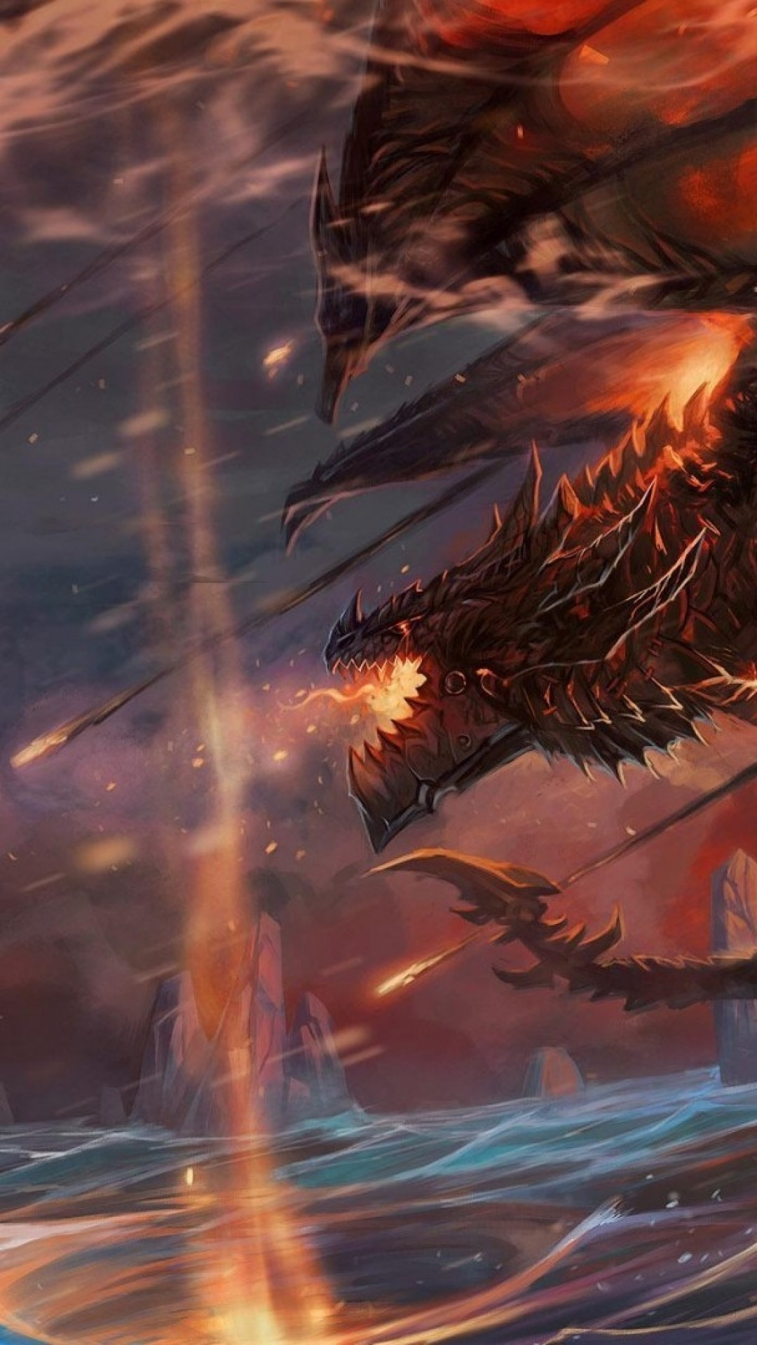 World Of Warcraft, Dragon, Lightning, Ocean, Flame, Artwork