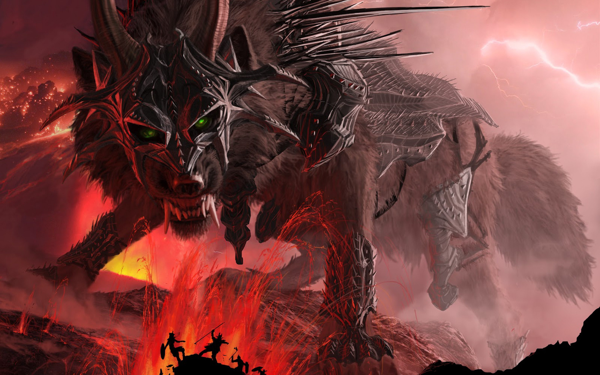 Wolf Jaws Teeth Horns Armor Mountains Lava Lightning Wallpaper At Dark  Wallpapers