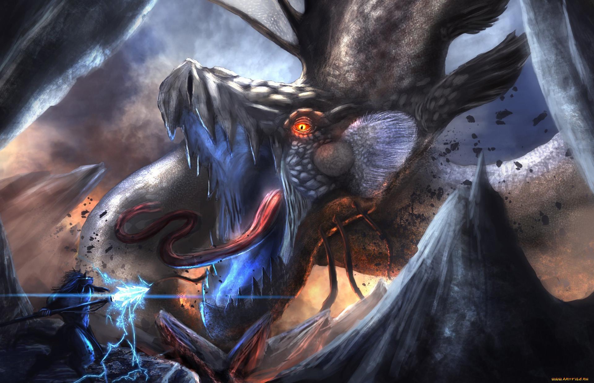 Epic Anime Fight Wallpaper Epic fantasy warrior dragon