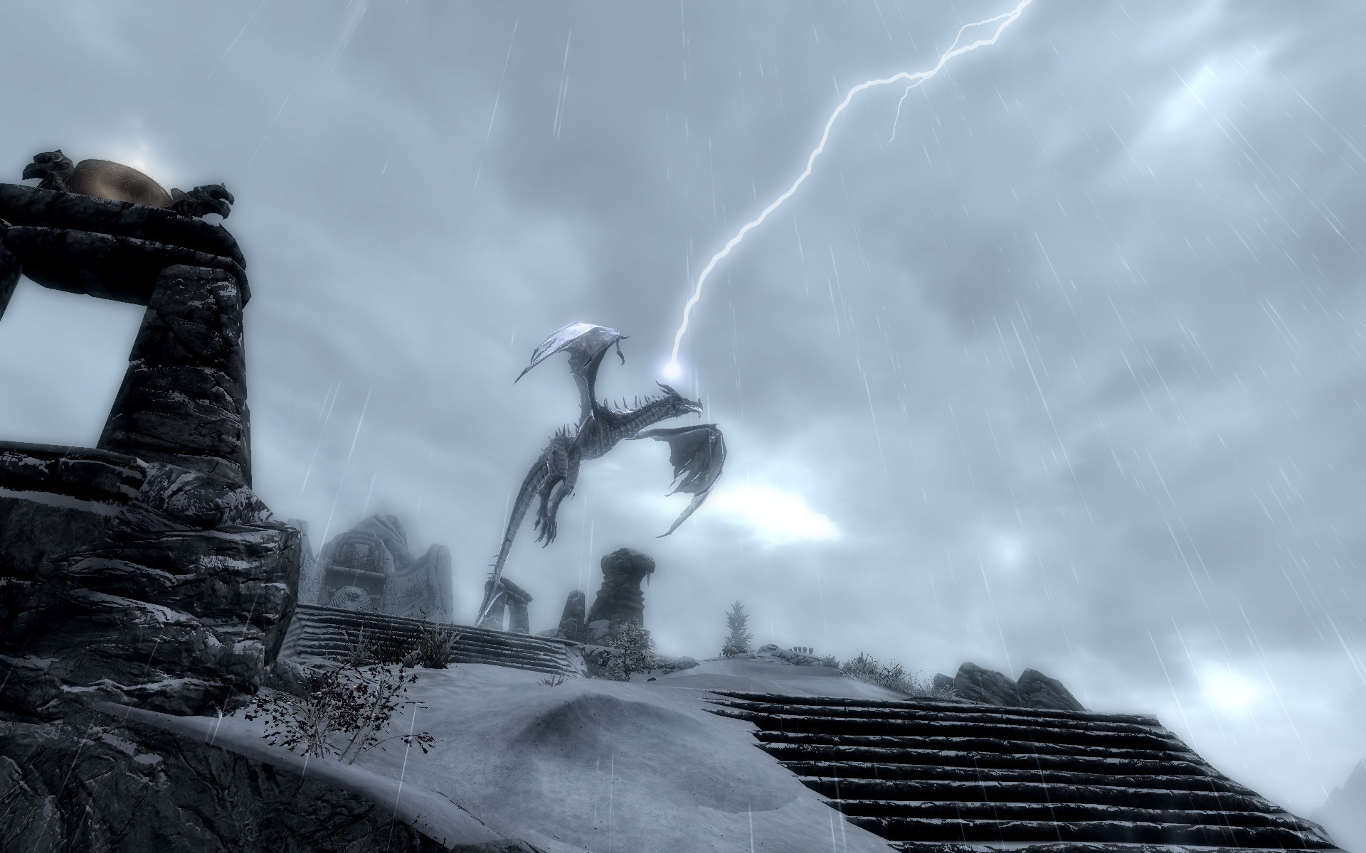 Storm Call shout will bring a crazy lightning storm and zap the dragon.
