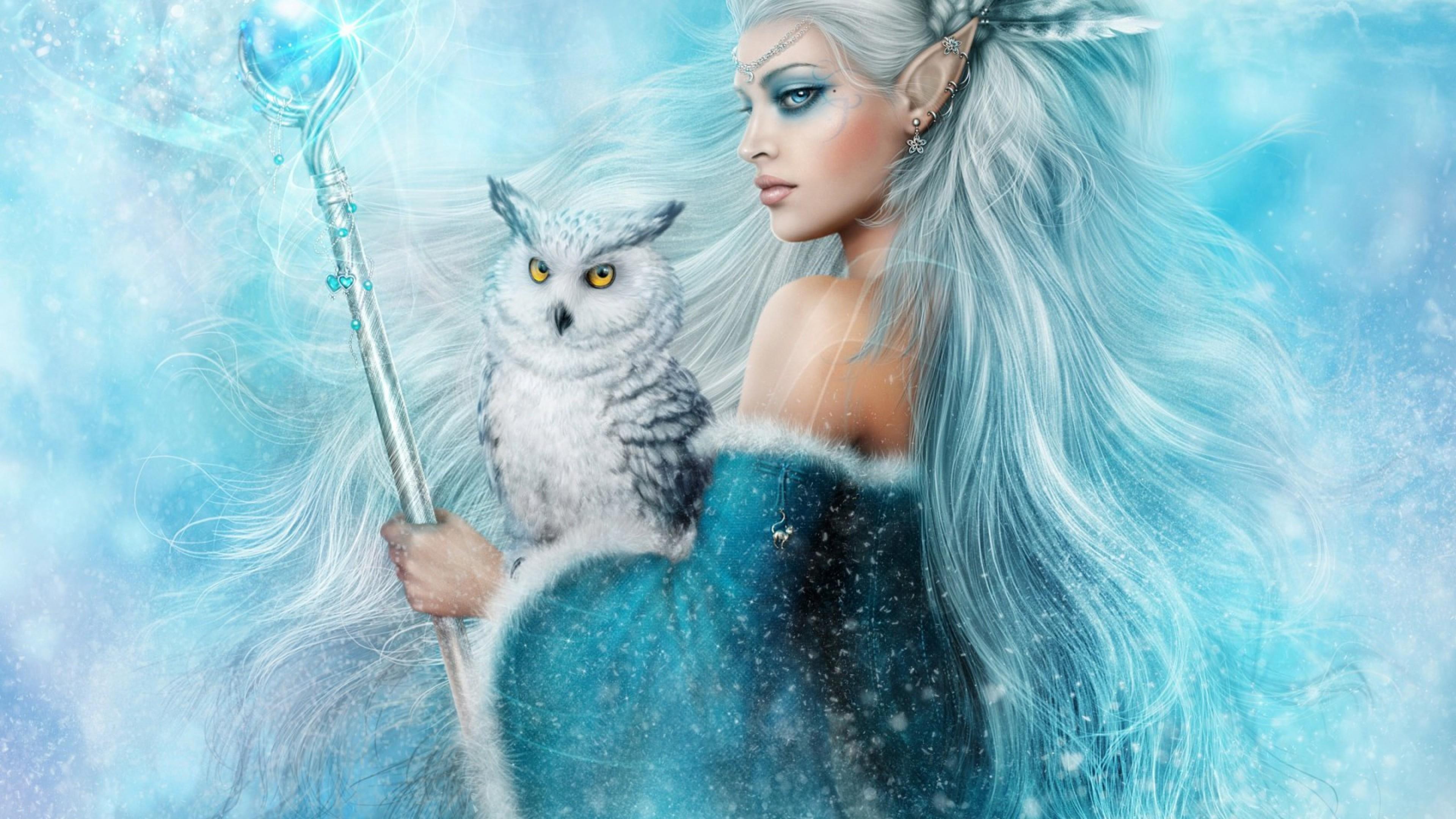 Preview wallpaper girl, elf, owl, magic 3840×2160