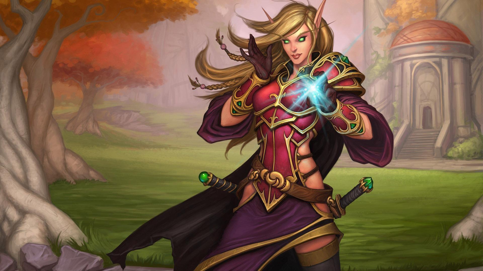 World of Warcraft female elf warrior