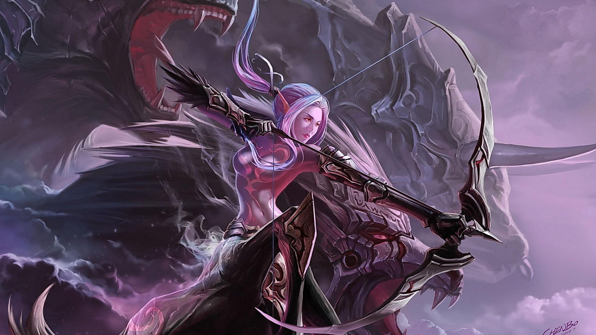 Blood Dark Fantasy Art Women   fantasy art women elf archer weapons  wallpaper background