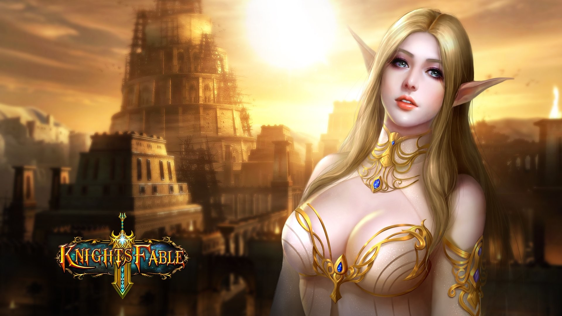 KNIGHTS FABLE fantasy mmo rpg online hero heroes King Arthur action  adventure fighting poster elf elves