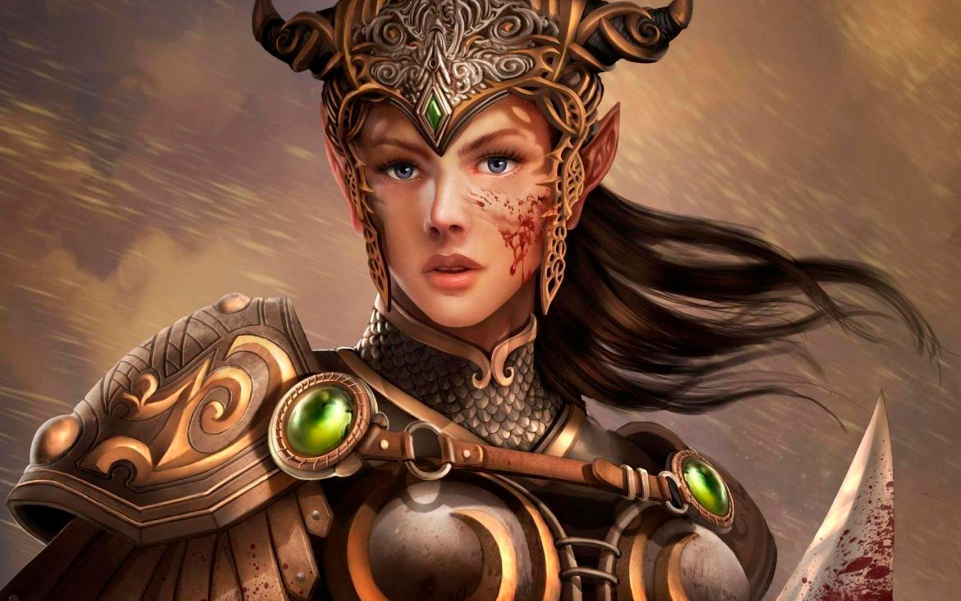 Fantasy – Women Warrior Fantasy Elf Woman Warrior Armor Sword Wallpaper