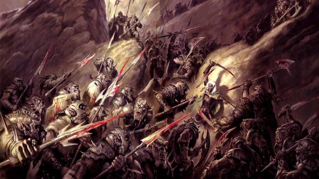 fantasy art, armor, dnd, orcs, axes, Dungeons and Dragons, spears