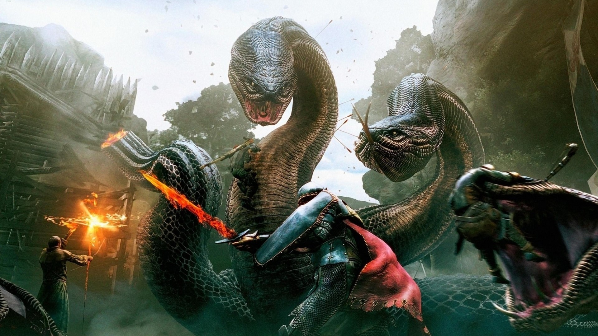 video games dragons fire hydra snakes giant fantasy art magic wizards  sorcerer artwork dragons dogma Art