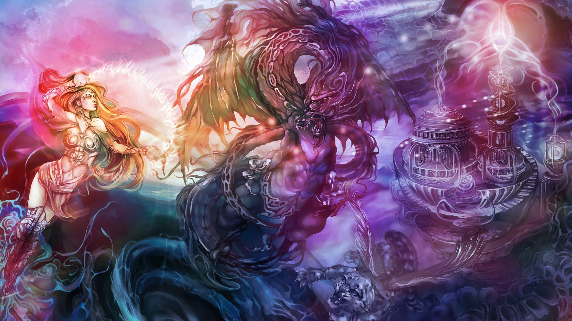 Gothic Art Dragon Screensaver   fantasy art dragon magic women females  girls castle dark wallpaper .