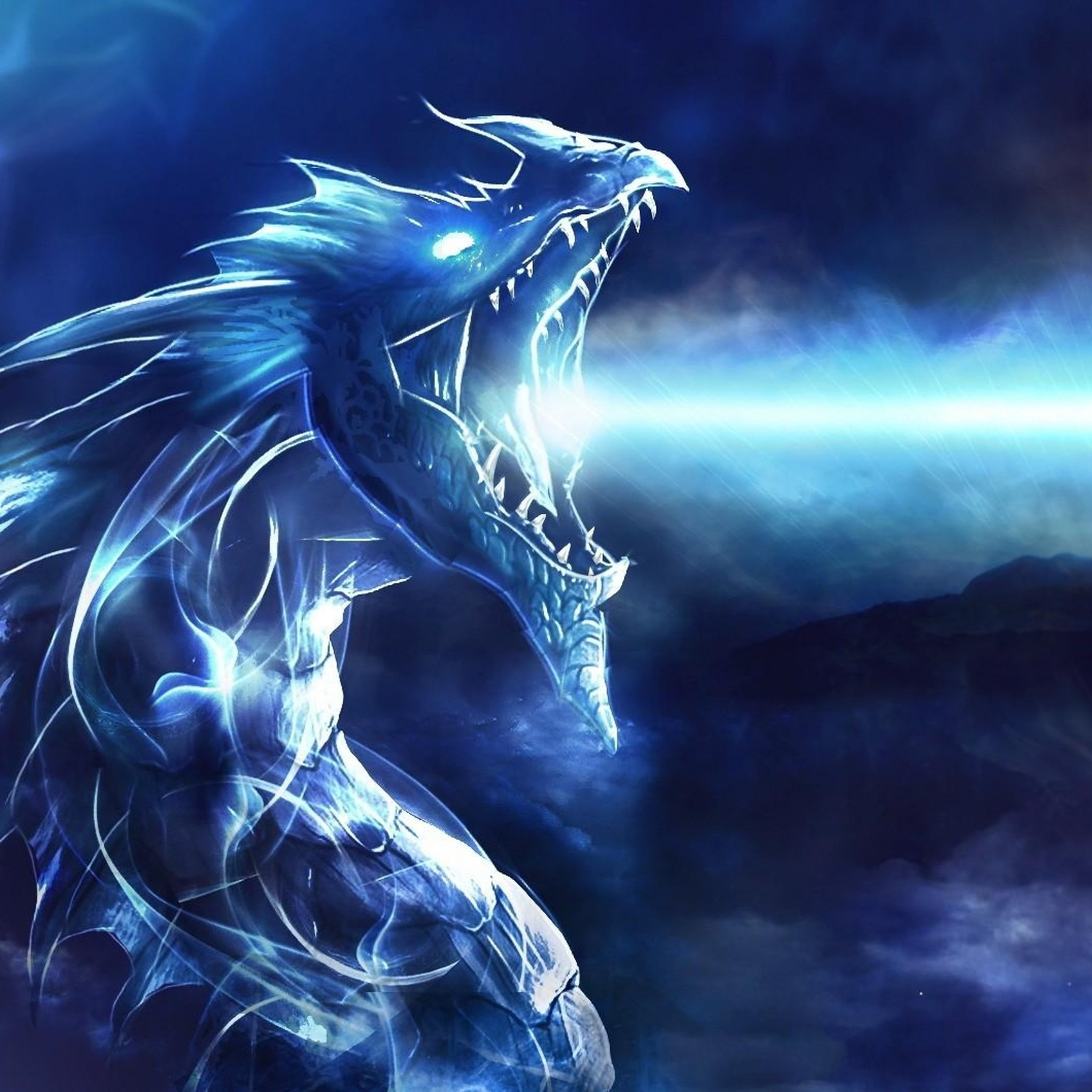 Preview wallpaper dragon, mouth, night, light 2048×2048