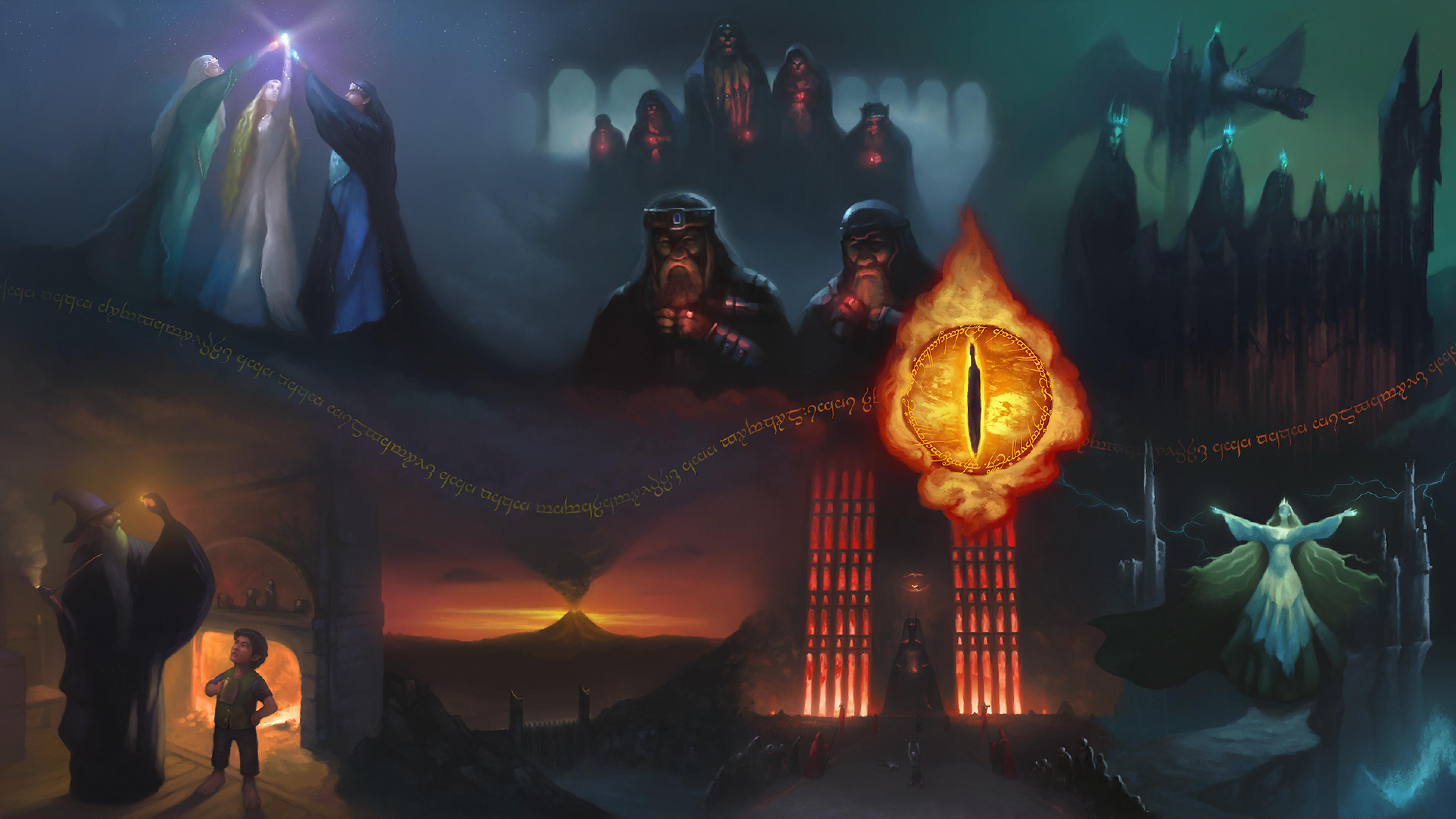 Fantasy World, Eye Of Sauron, Magician, Elfs, Dragon