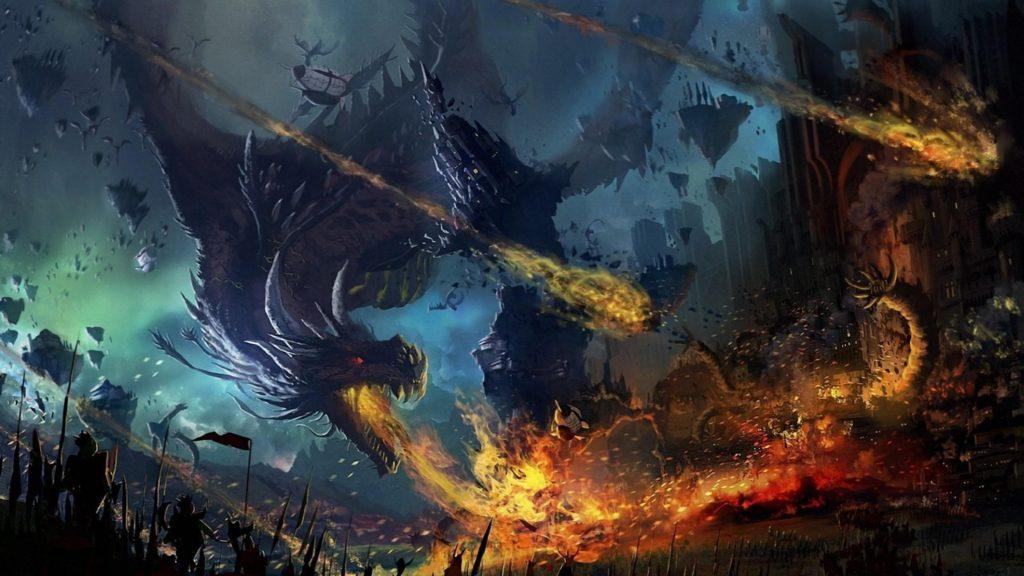 Preview wallpaper dragon, fall, fire, flame, war, battle 2048×1152