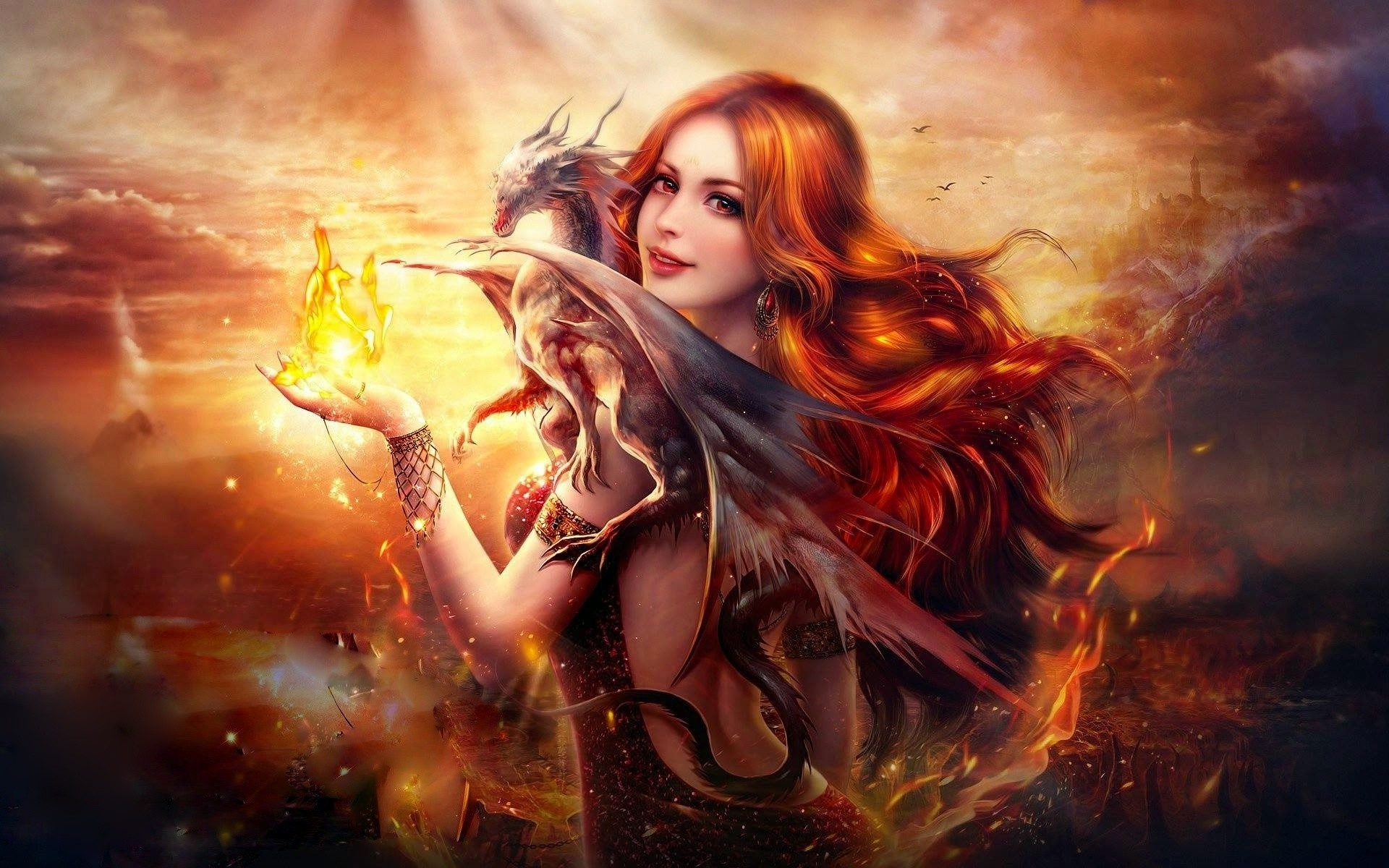 Dragon Fire Fantasy Girl HD wallpaper for your PC, Mac or Mobile device