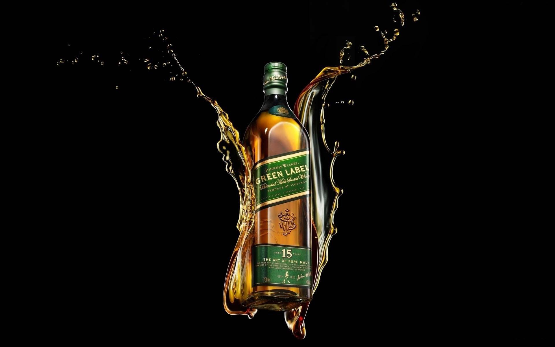 Wallpaper Johnnie walker, Green label, Whiskey, Bottle, Brand