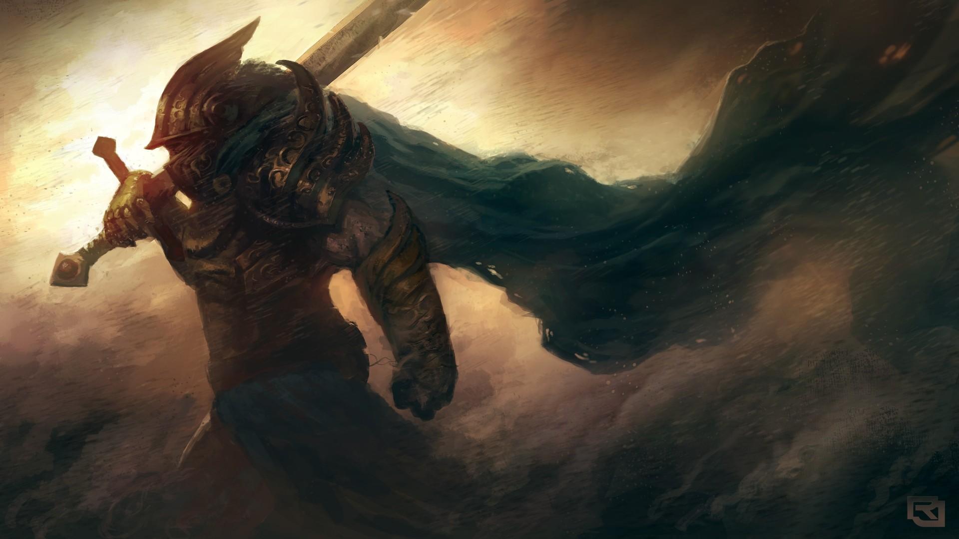 Wallpaper art, warrior, armor, helmet, sword, wind, storm