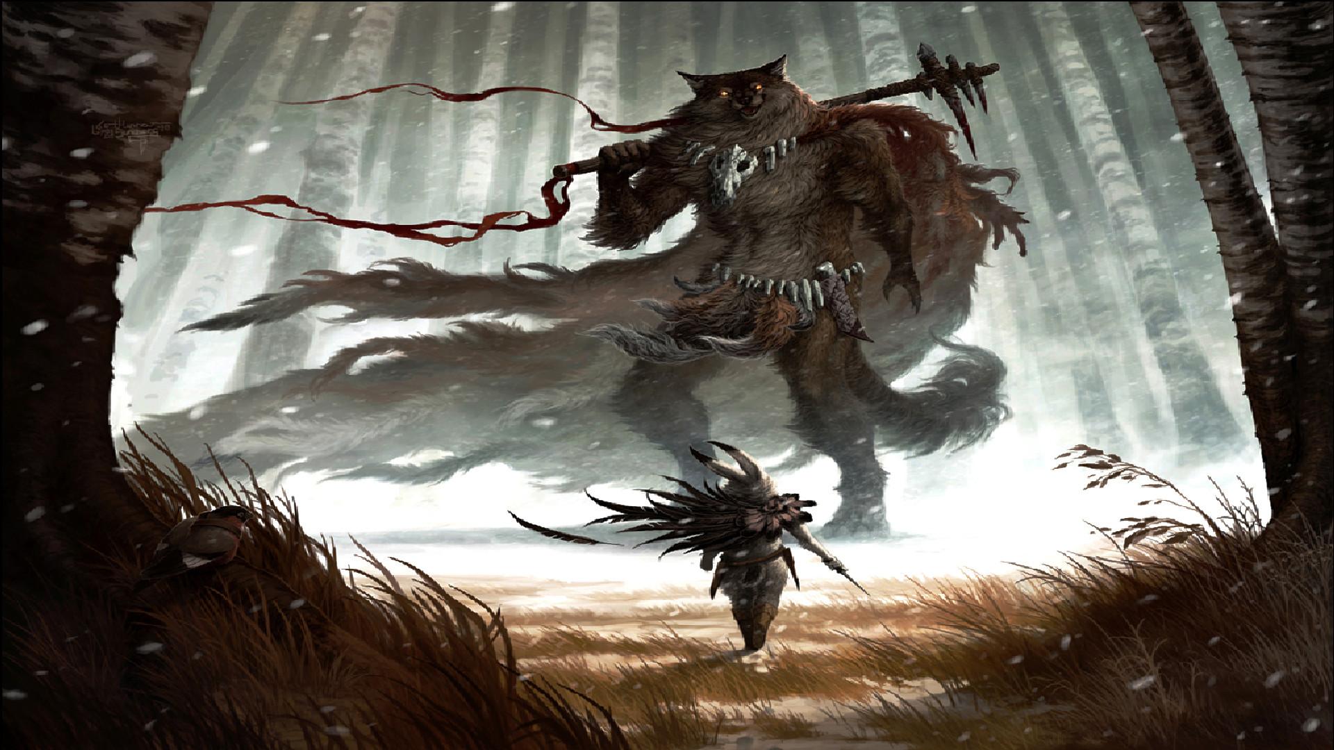 Fantasy – Warrior Fantasy Wolf Furry Wallpaper