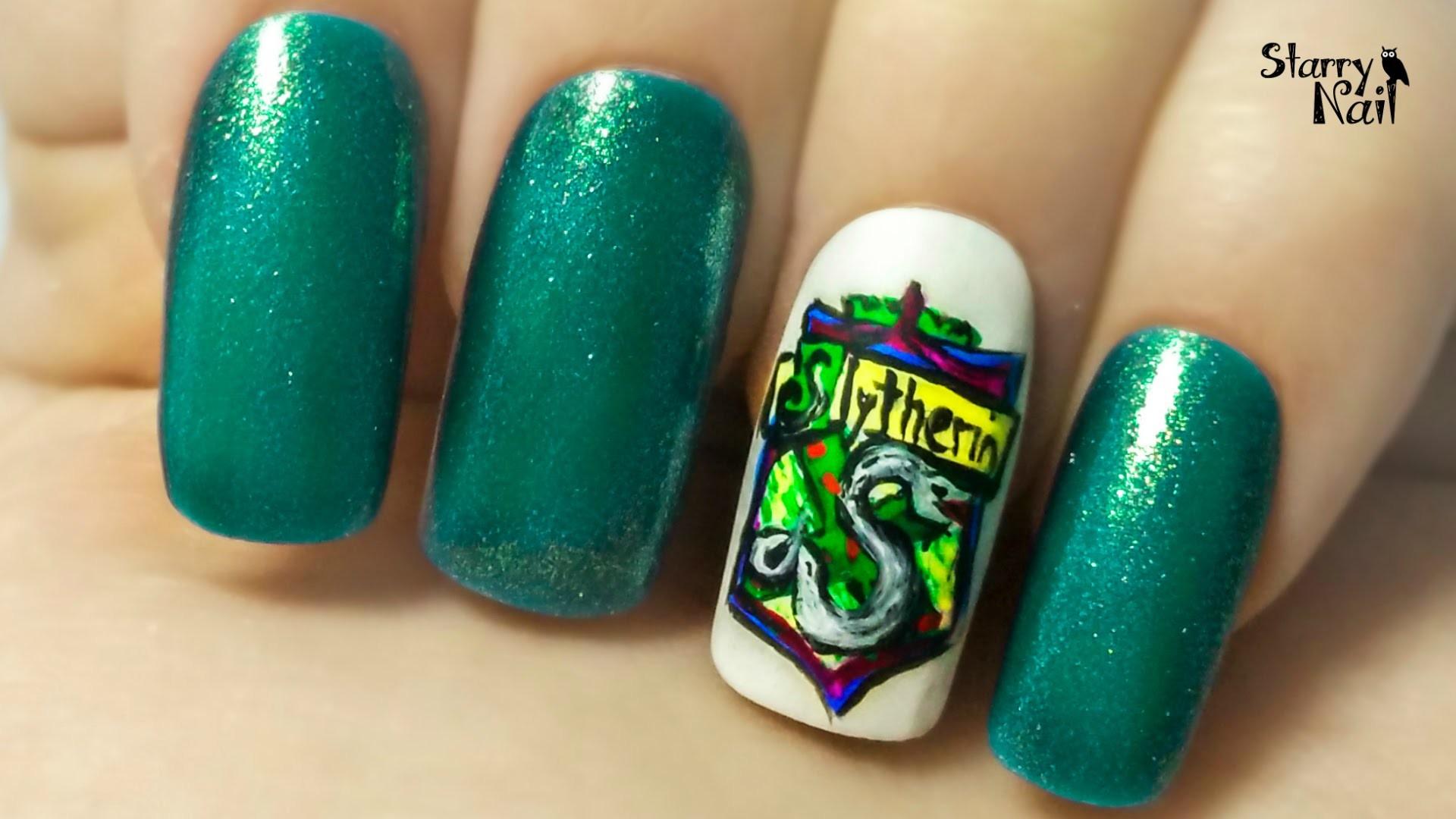 Slytherin Crest ⎮ Hogwarts Houses ⎮ Freehand Nail Art Tutorial – YouTube