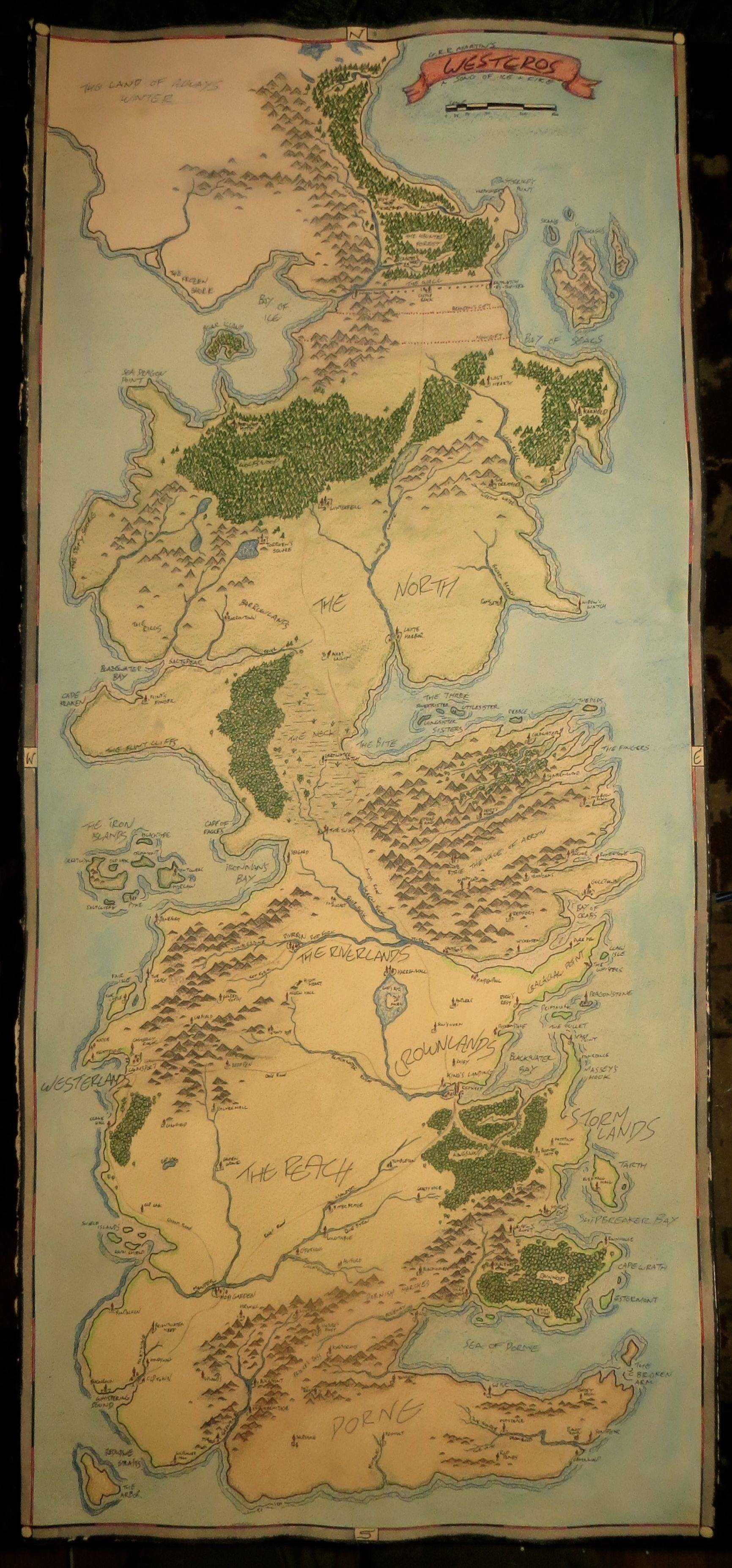 I drew a map of Westeros from Game of Thrones …