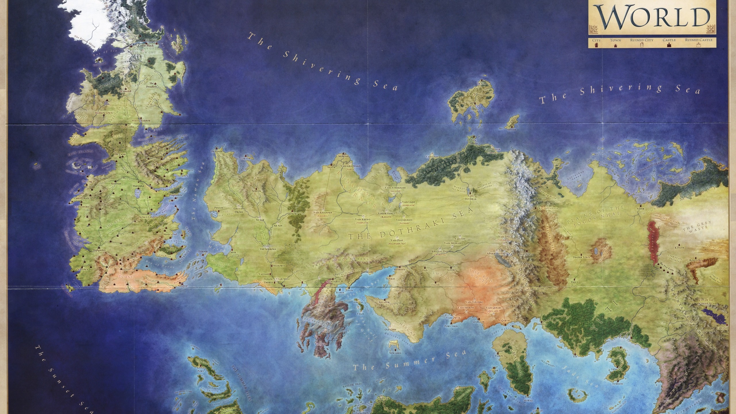 If you buy the Lands of Ice and Fire it comes with a colour version of this  map.