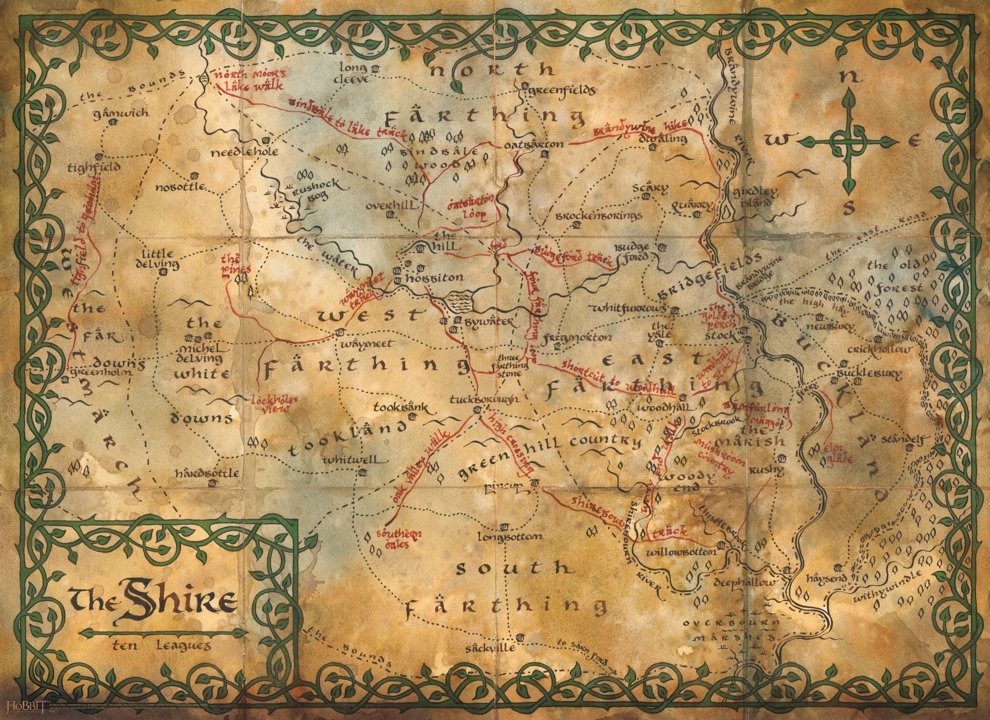 Map of the Shire – Wall Mural available from Wallsauce