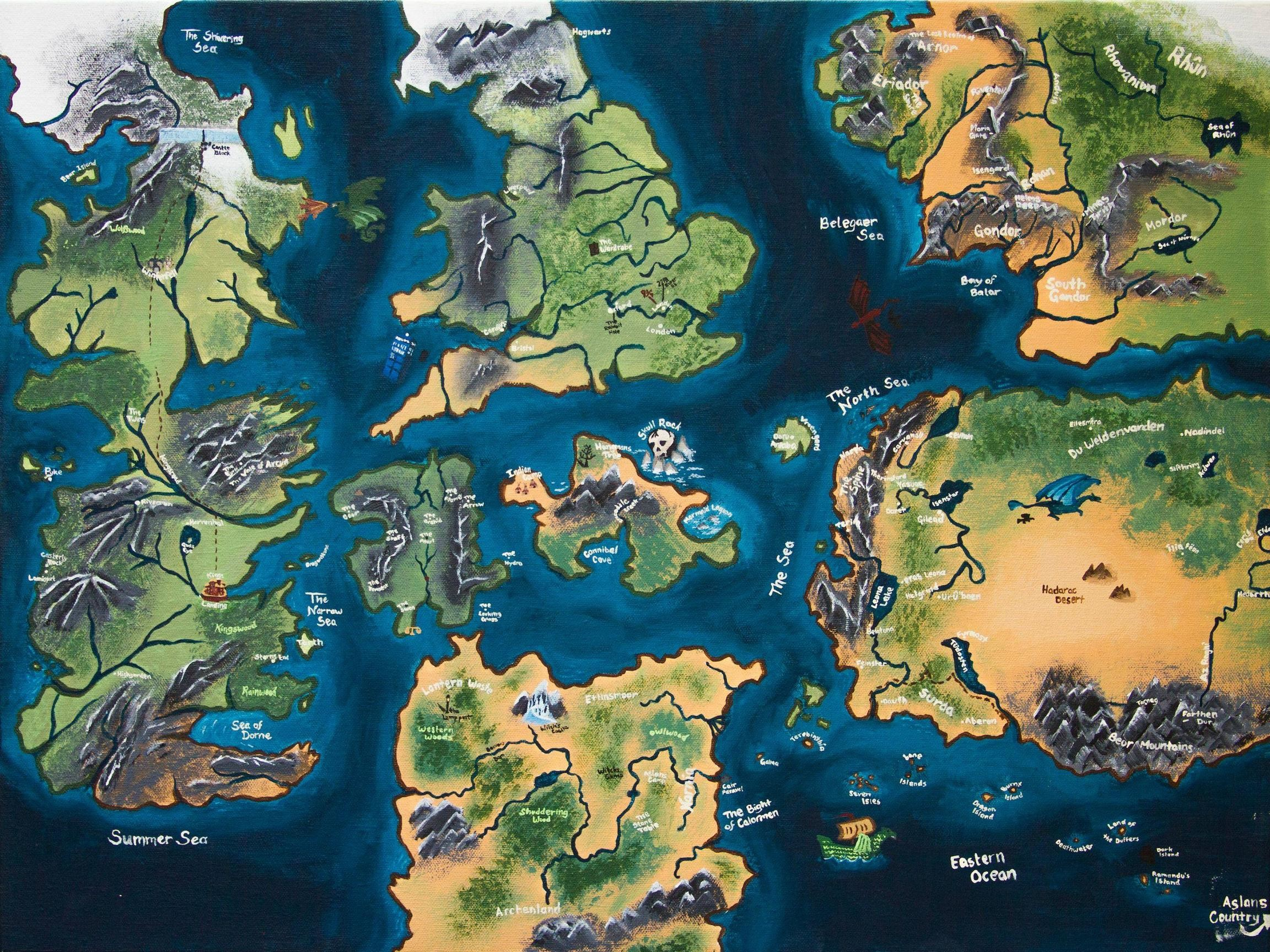 [No Spoilers] A map of Westeros…and other places