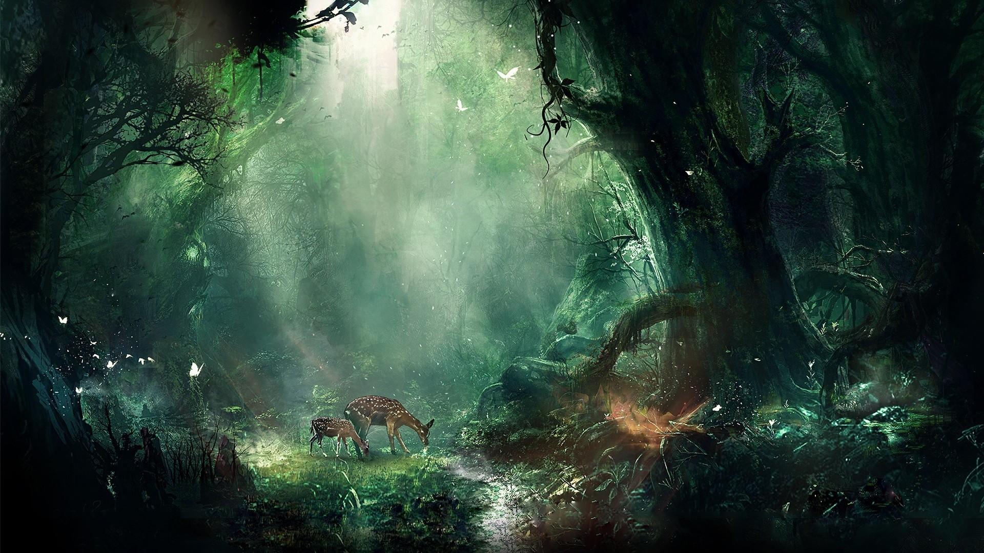 Preview wallpaper jungle, fantasy, deer, butterflies, night, trees 1920×1080