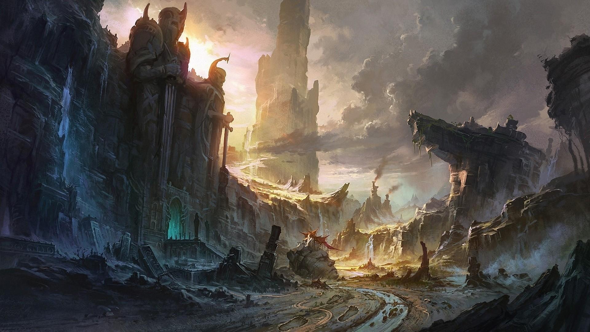 Preview wallpaper cliffs, destruction, city, landscape, waterfall 1920×1080
