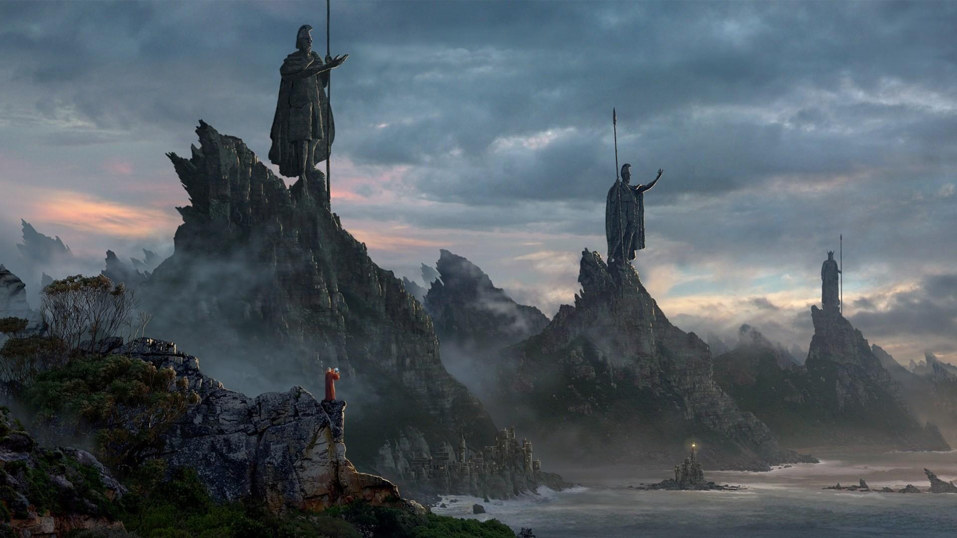 ancient statue sea mountain coast