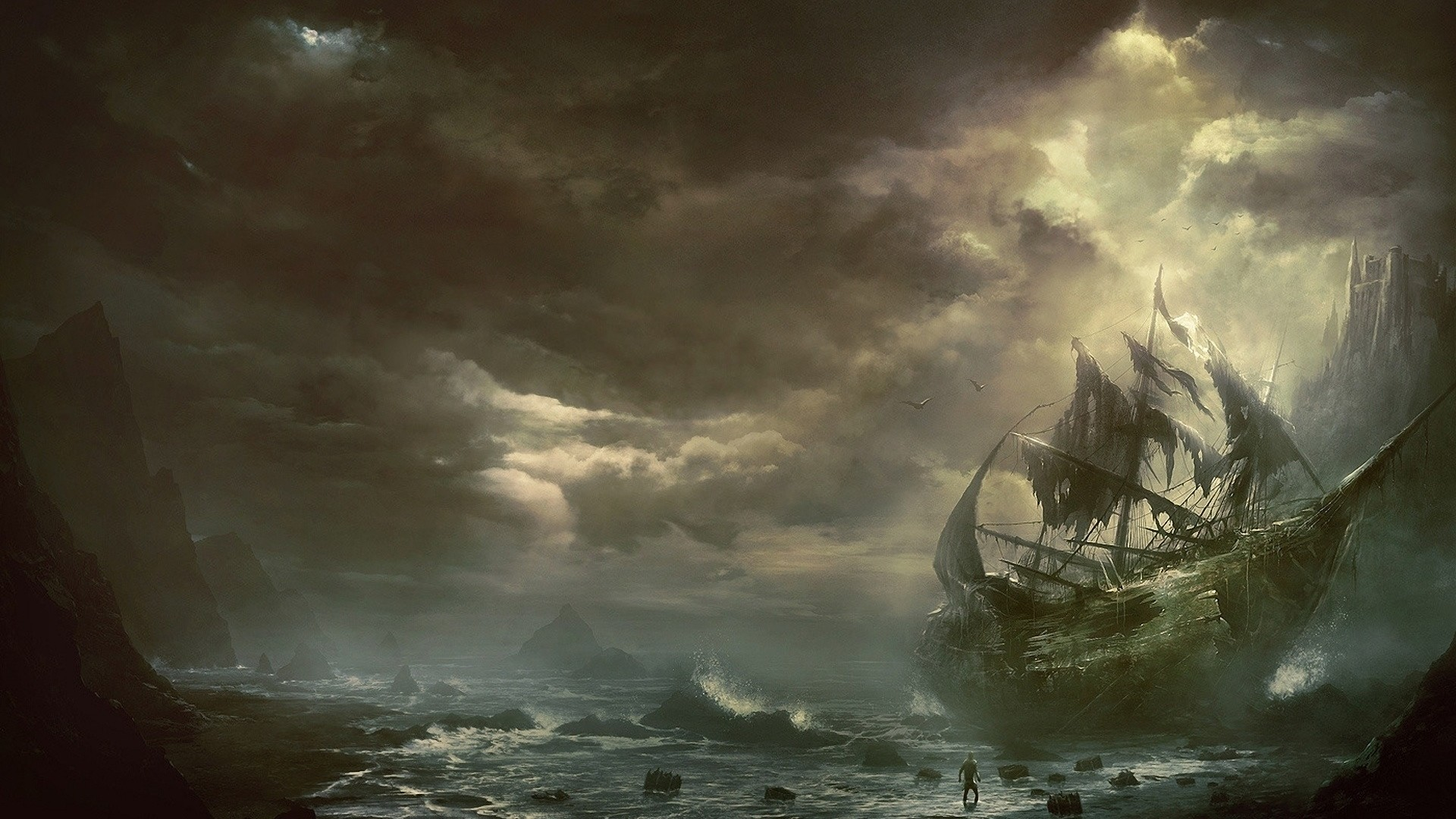 Preview wallpaper mountains, clouds, sea, ship, sailboat, destroyed  1920×1080