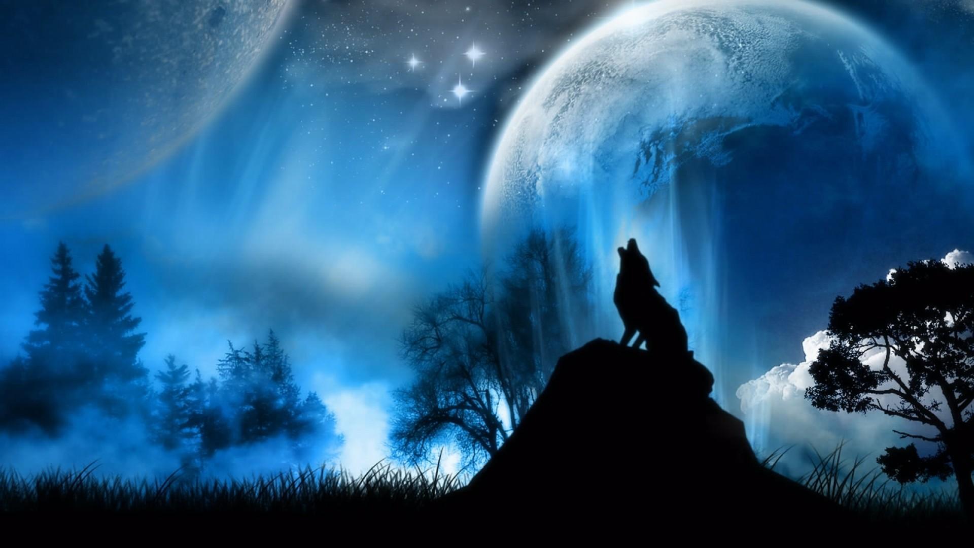 Wallpaper moonlight, wolf, fantasy