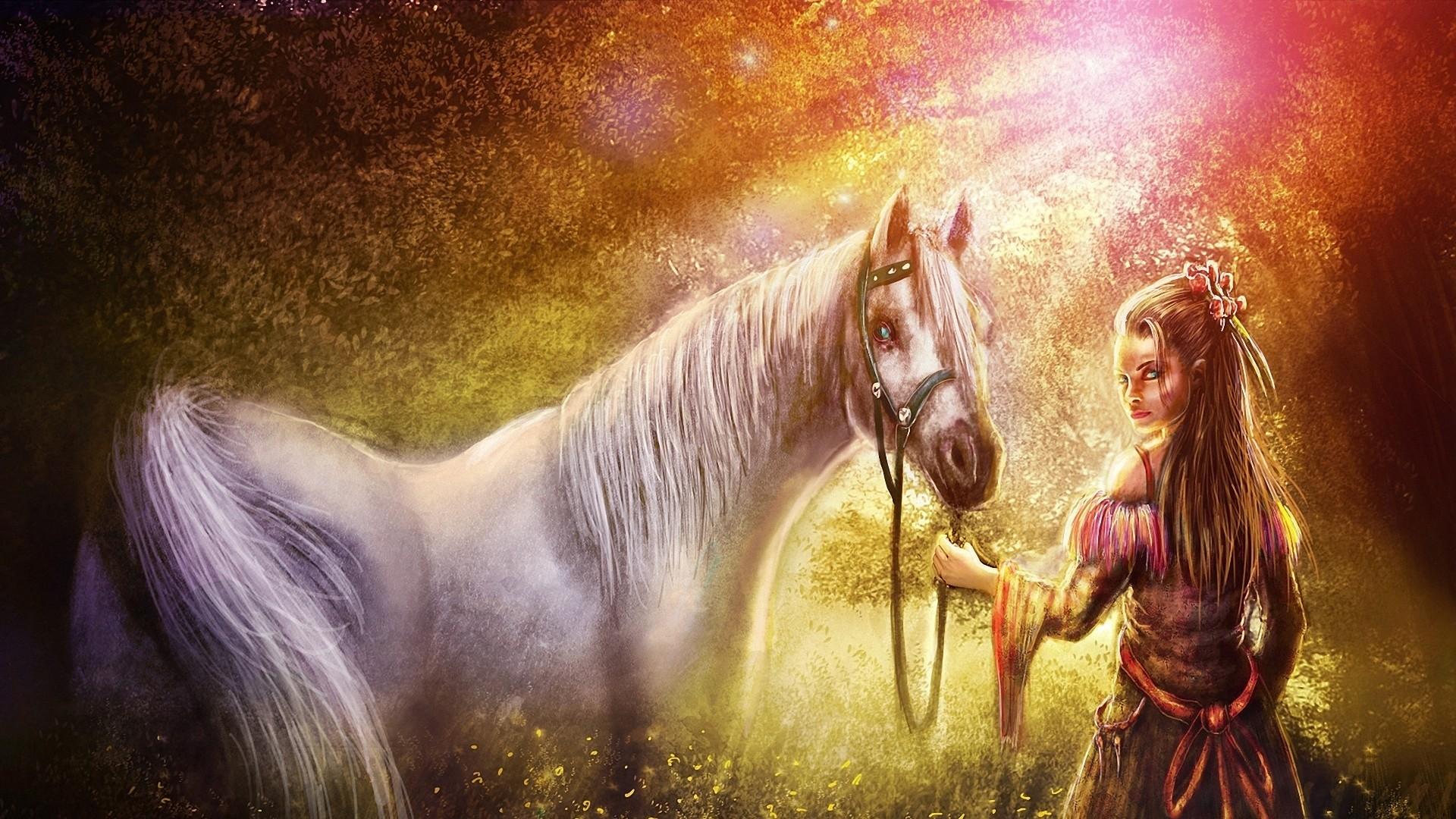 Wallpaper girl, horse, wood, art, nature, fantasy