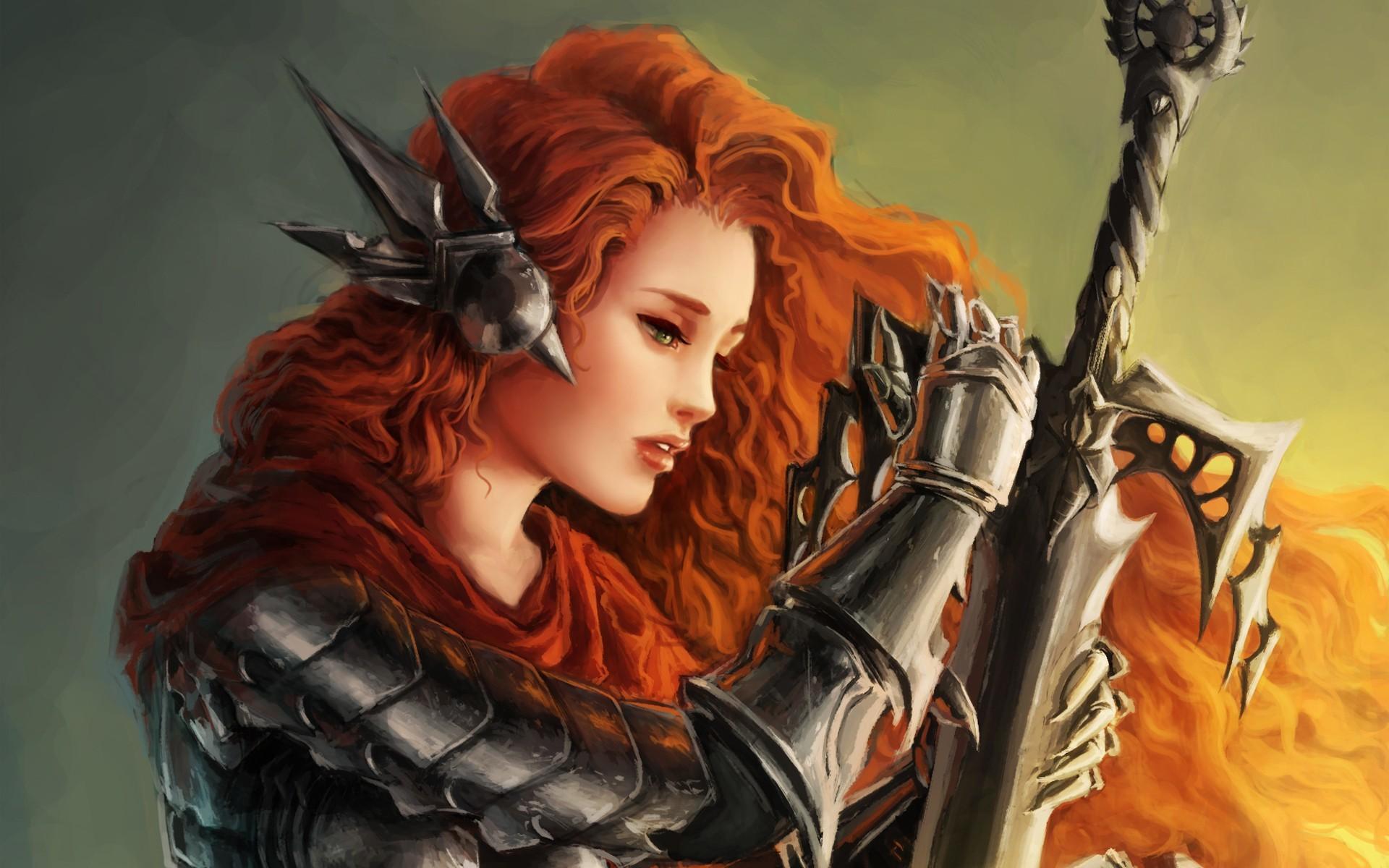 Women fantasy art armor artwork warriors orange hair swords wallpaper      55628   WallpaperUP