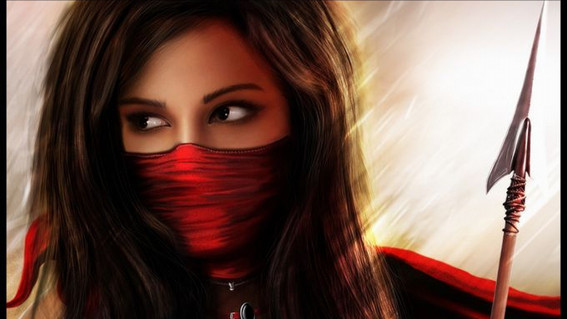 manipulations cg digital art art fantasy warriors spear weapons brunettes  face mask eyes jewelry light backlit scarf maiden red colors women females  girls …