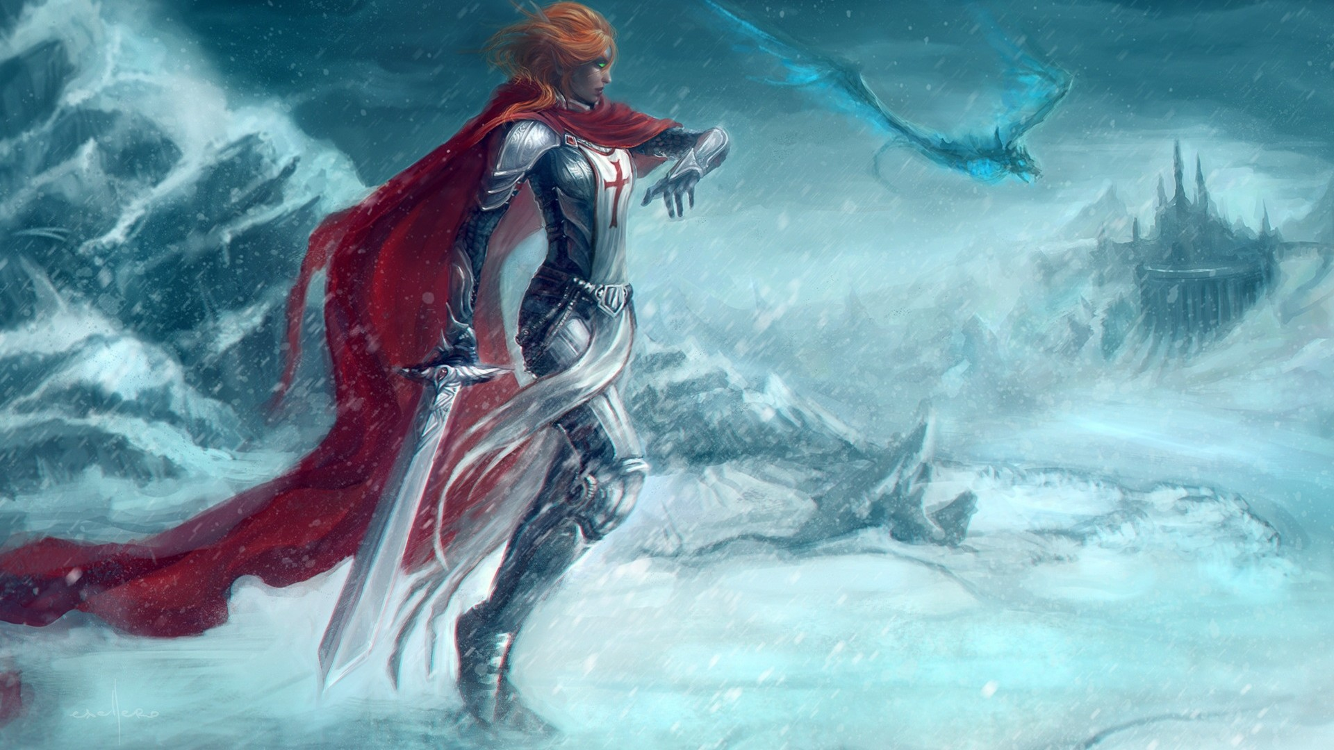 Armour Artwork Castles Dragons Fantasy Snow Swords Women