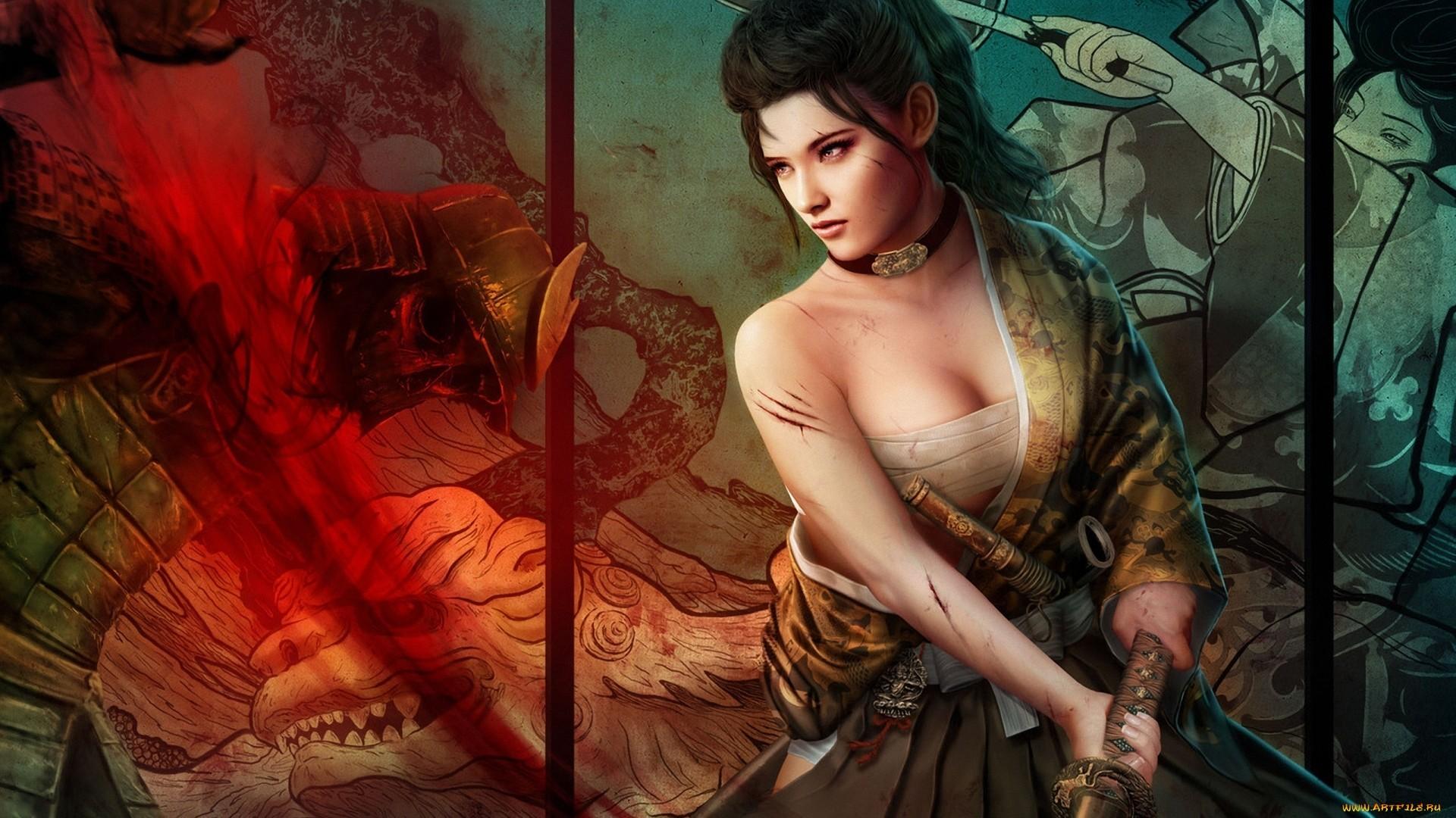 Fantasy Art Women Females Girls Warrior Weapons Blood Dragons .