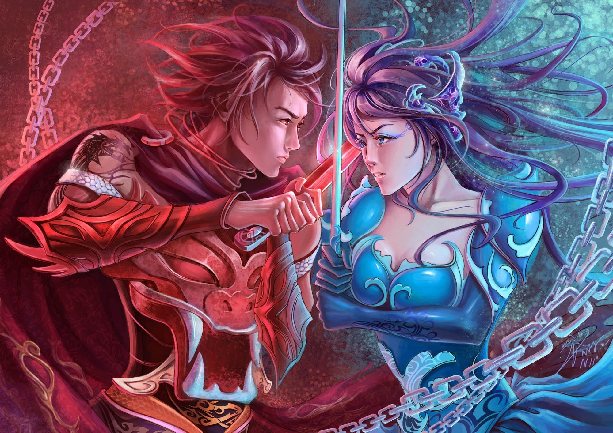 Fantasy warrior women females girls men males weapons battle sword wallpaper      45223   WallpaperUP
