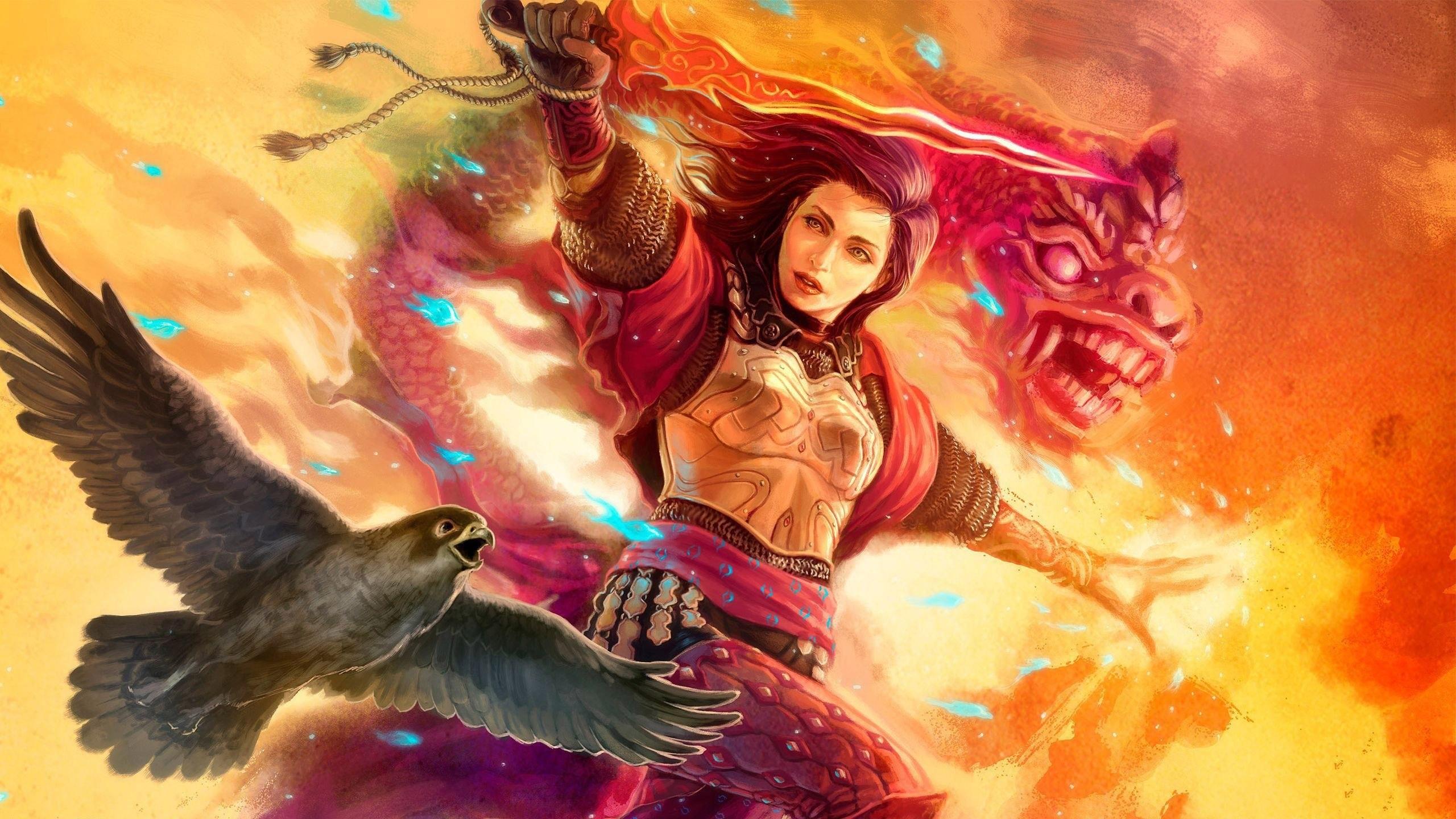 Woman fantasy animal warrior with falcon magic dragon wallpaper      990595   WallpaperUP