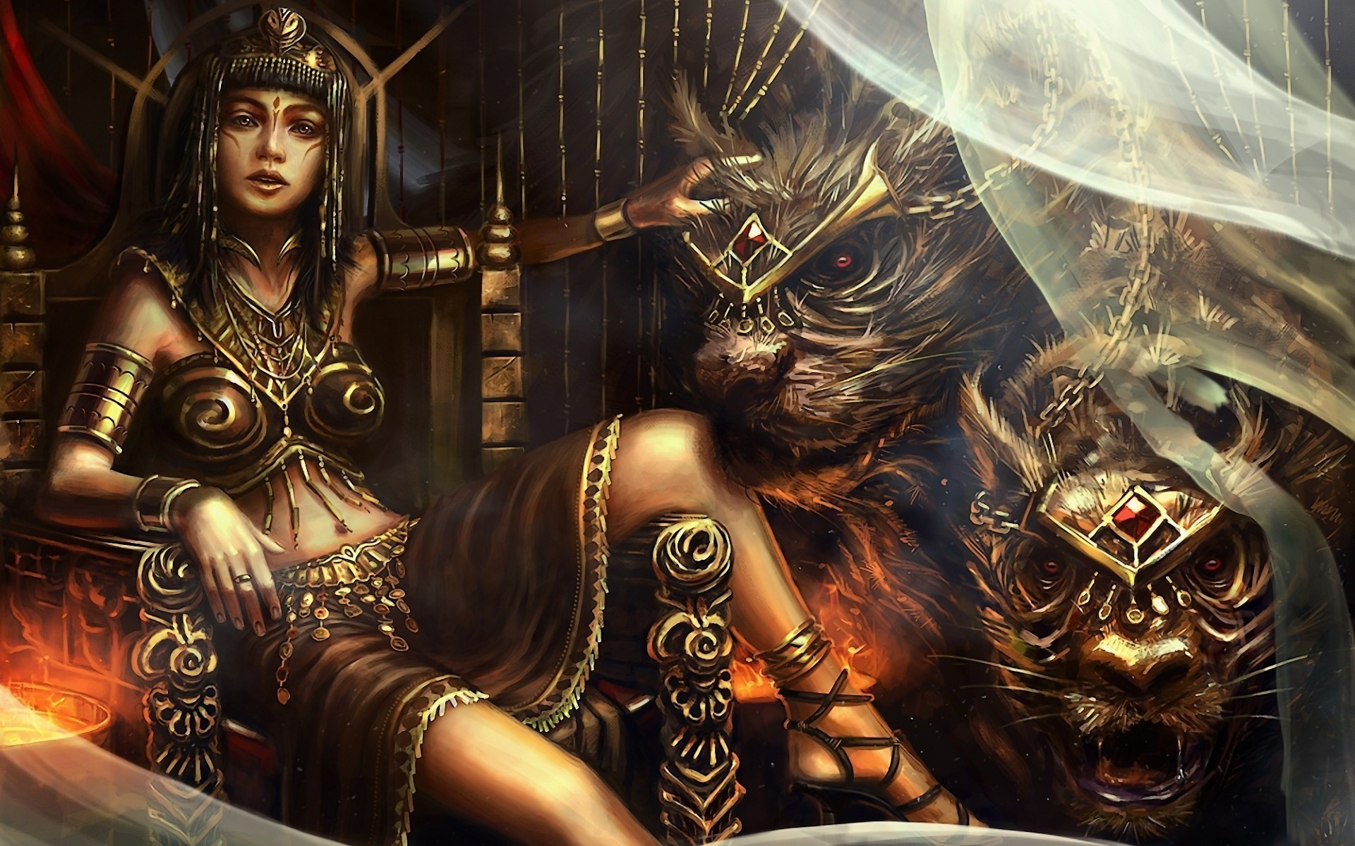Beasts Fantasy Artwork Female Warriors