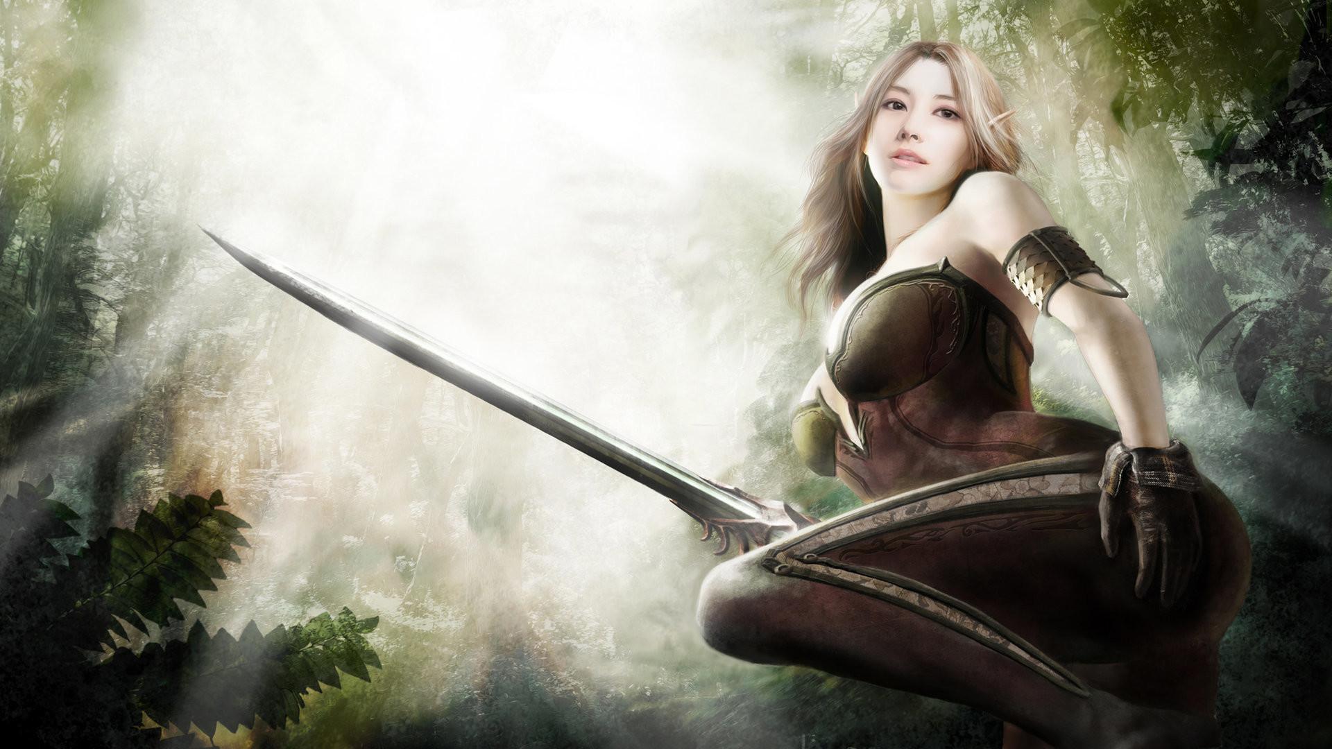 Fantasy – Elf Blonde Sword Woman Warrior Fantasy Wallpaper