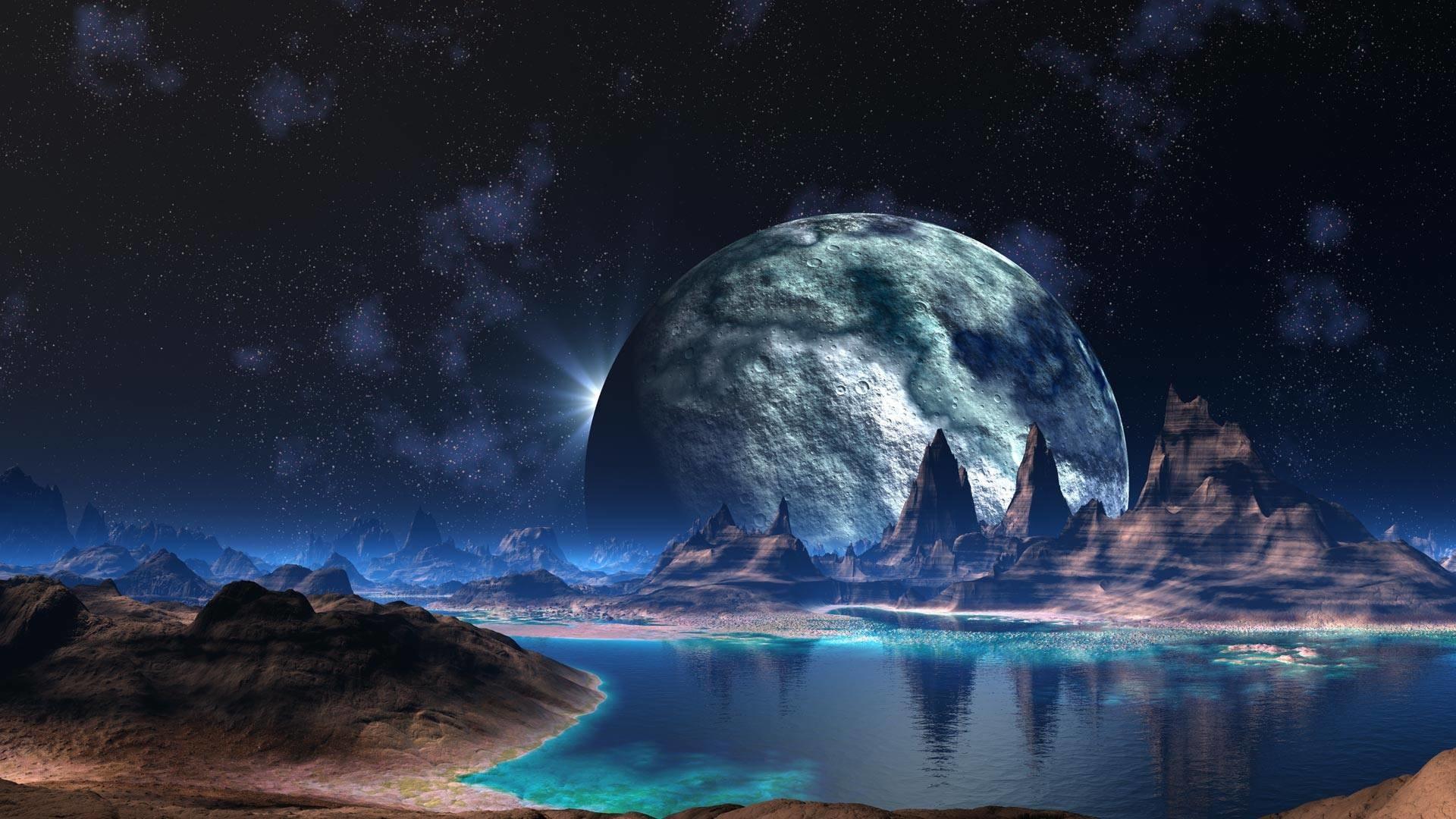 Alien Landscape Planet Stars Lake sci-fi space reflection mountains .