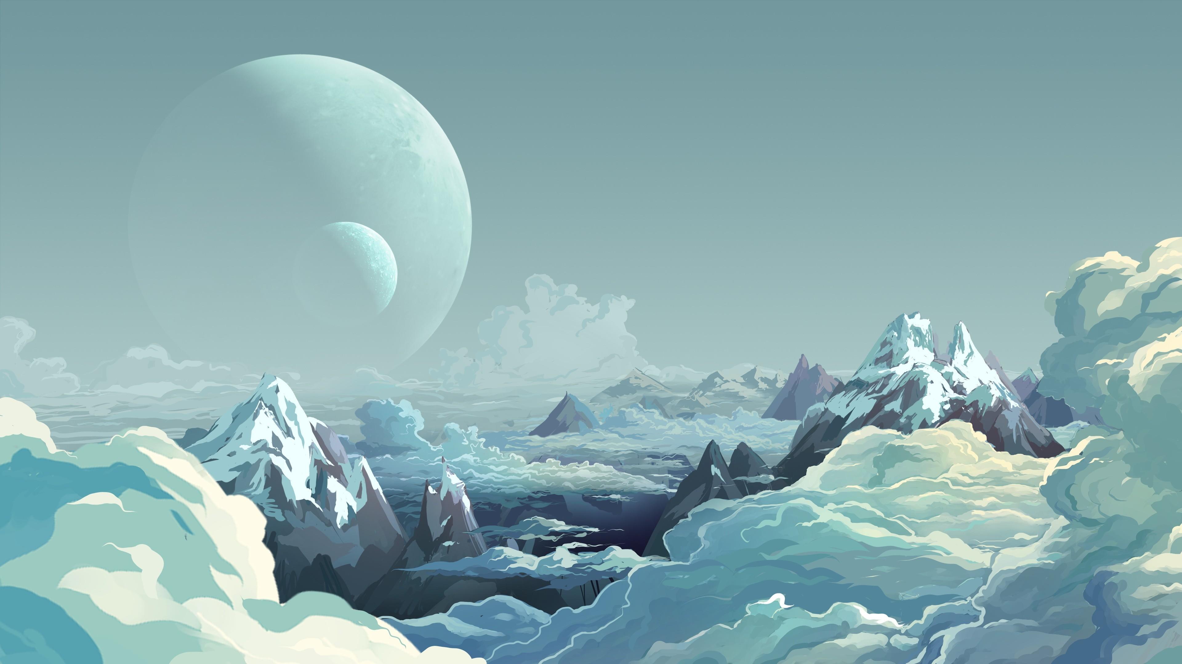 planetary landscape | Alien Landscape Planets Mountains Clouds Drawing  landscapes planet art .