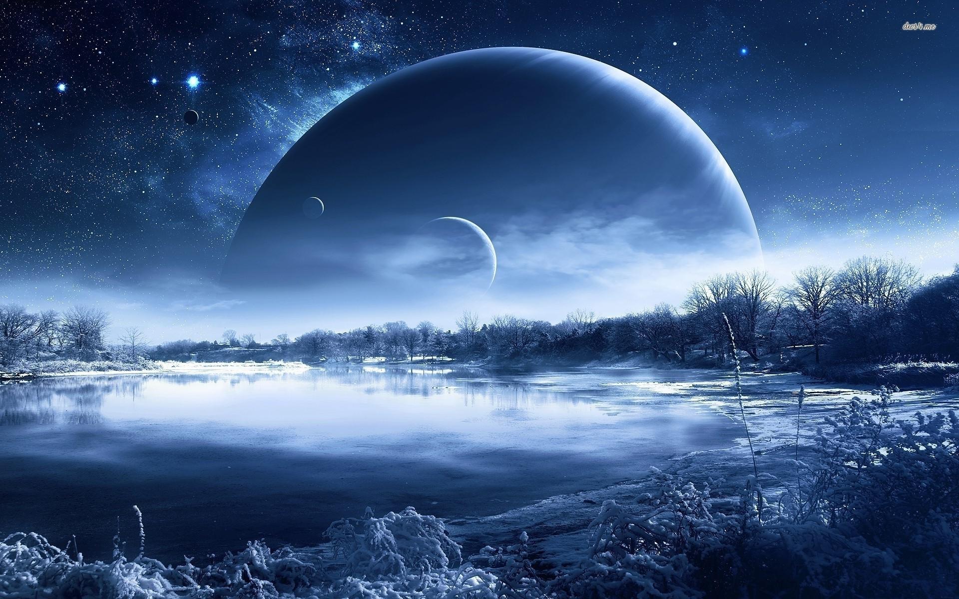 Icy planet landscape