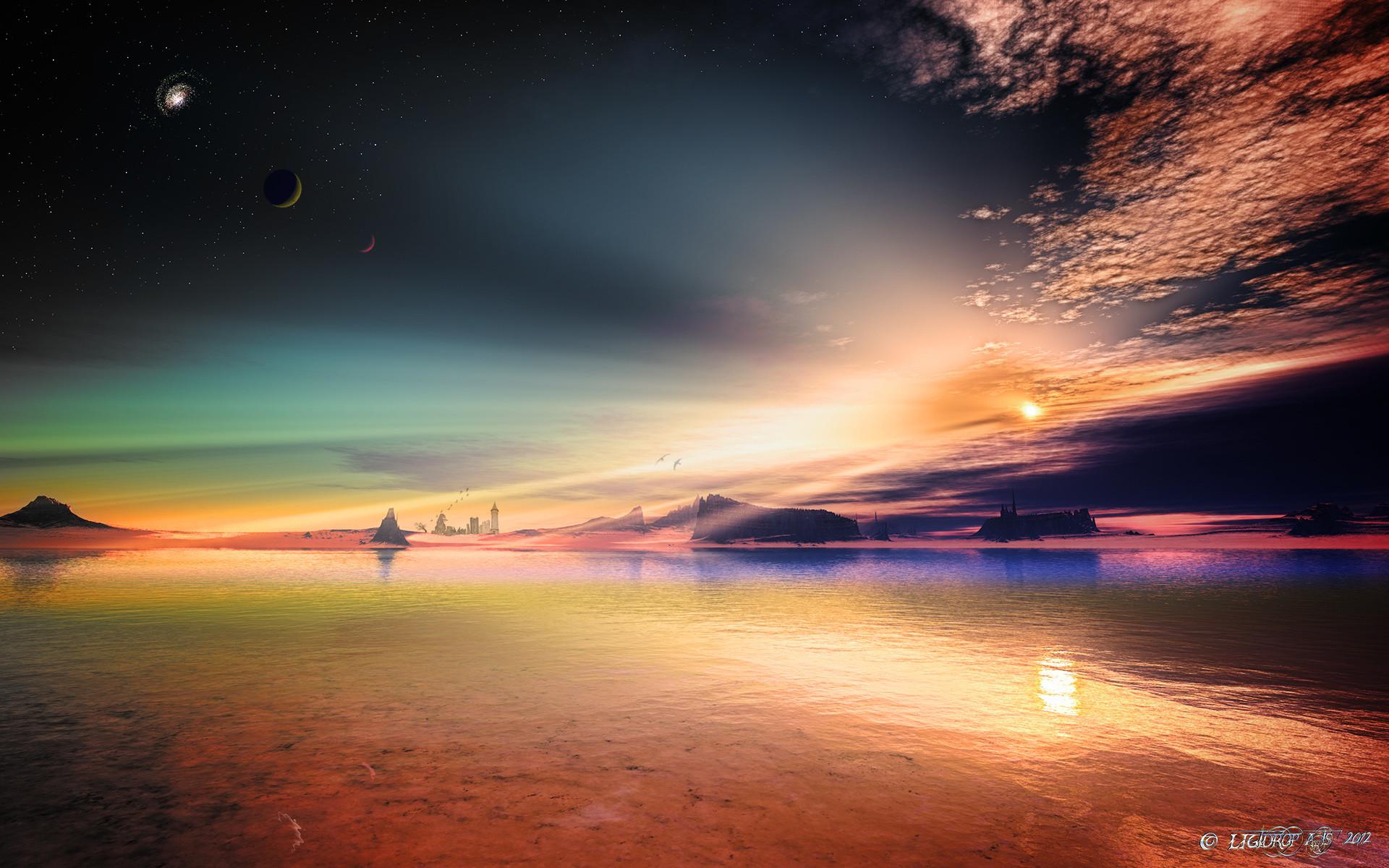 Art alien planet rocks sky stars lakeslandscape reflection sunset castle  wallpaper | | 72035 | WallpaperUP