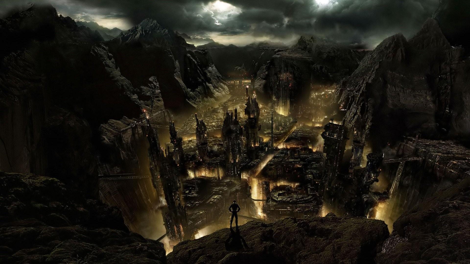 Alien Life Forms Asteroids Buildings Cityscapes Dark Sky Landscapes