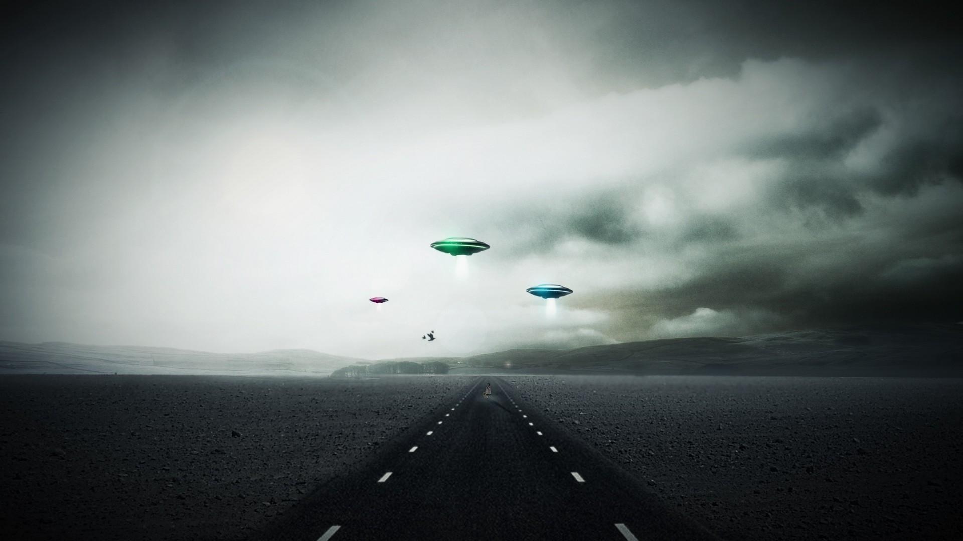 Sci fi invasion ufo spaceship spacecraft roads landscapes sky clouds alien  wallpaper | | 30775 | WallpaperUP