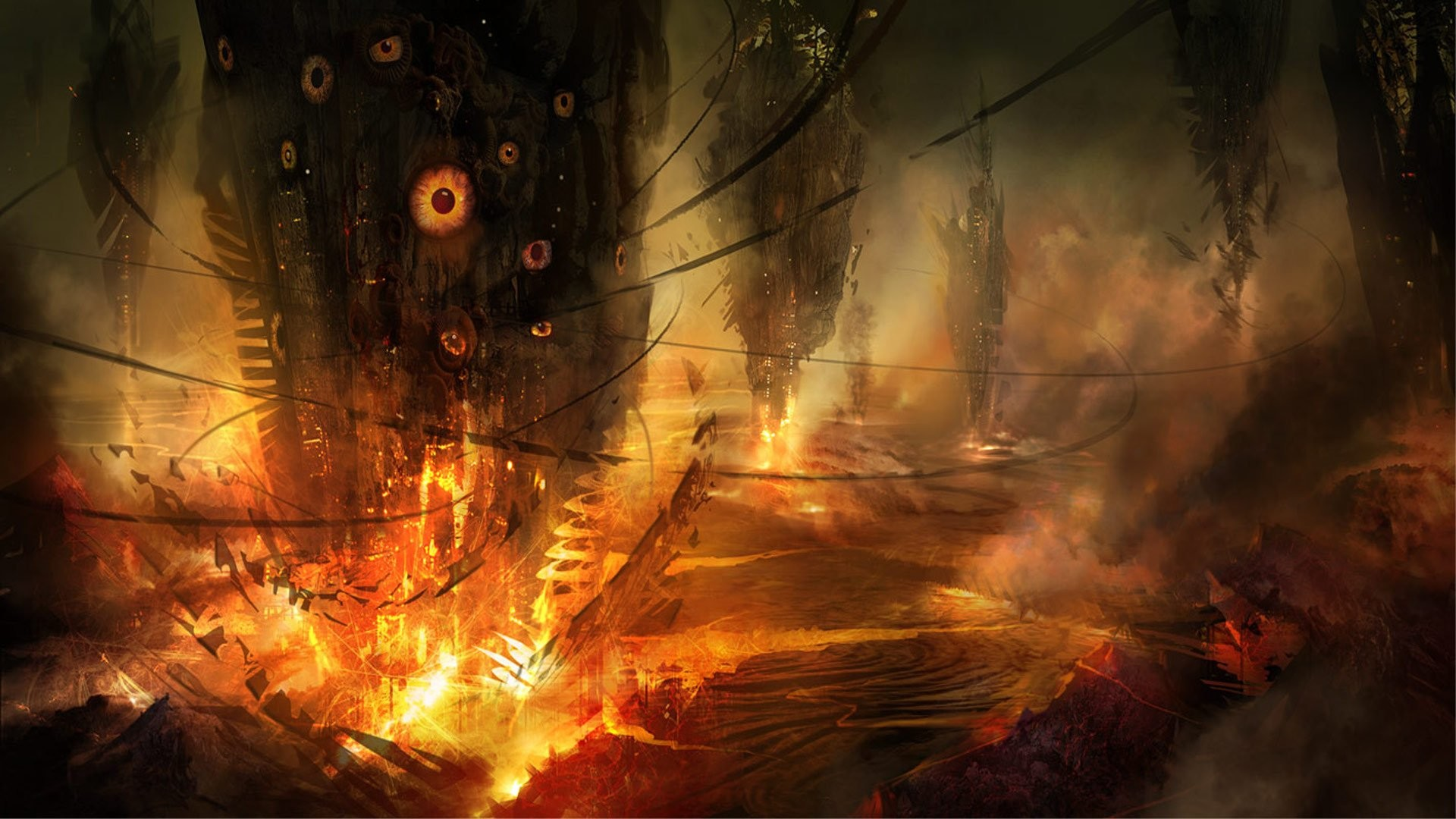 Eyes fire concept art science fiction alien landscapes cyclone Philip  Straub wallpaper | | 251901 | WallpaperUP
