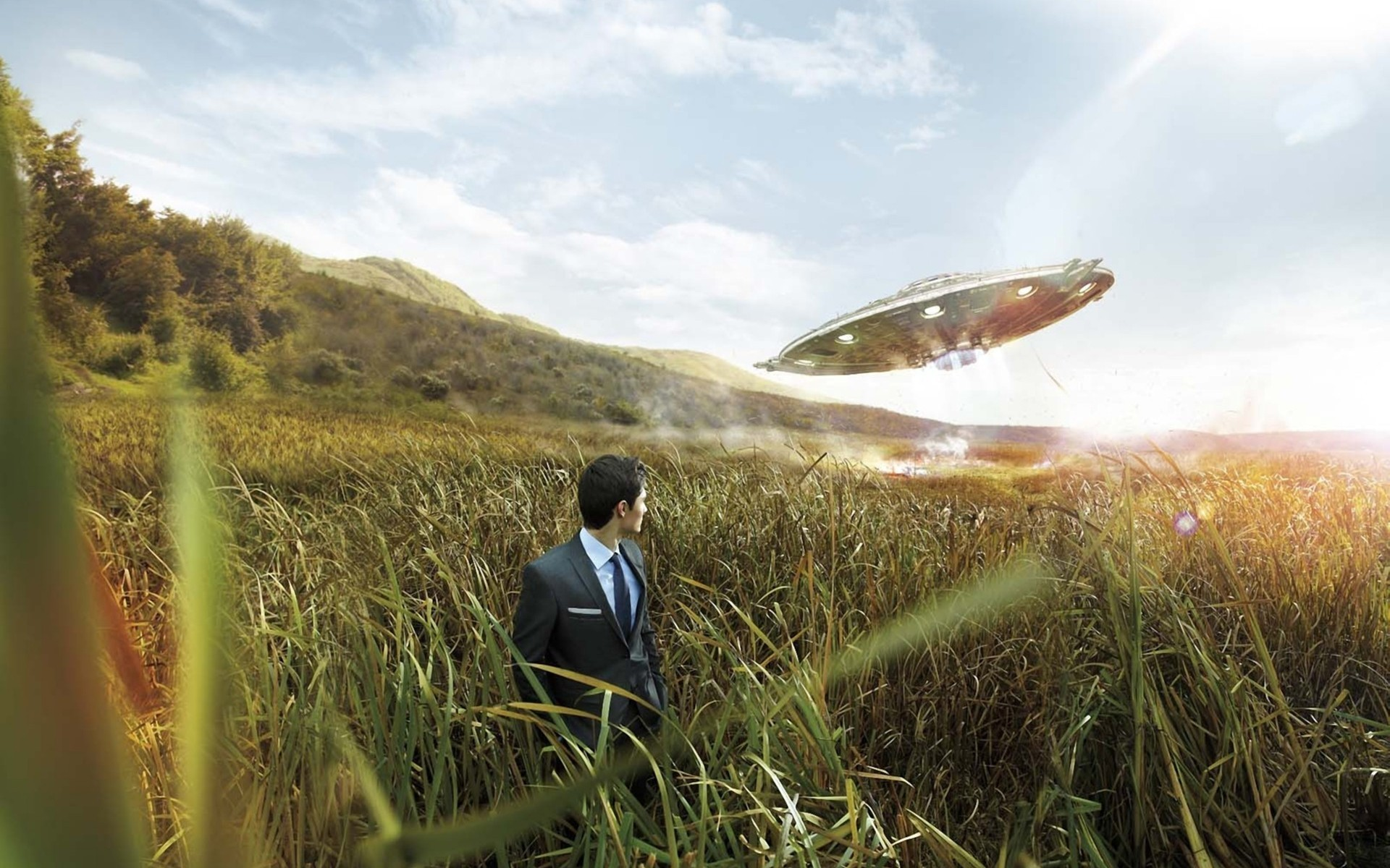 Morar Gheorghita man field grass ufo ship smoke landscapes spaceship  spacecraft situation flight sky clouds aliens wallpaper | | 55886  | …
