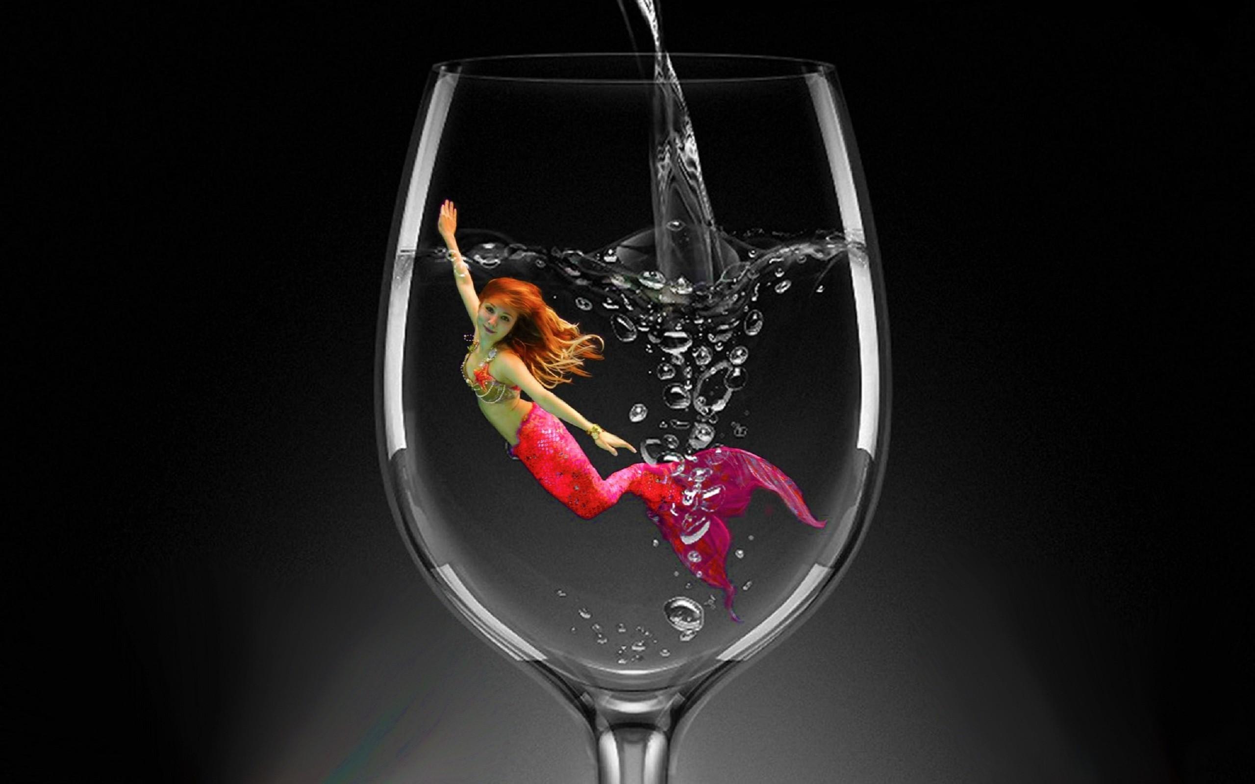 A Glass Of Mermaid Wallpaper.