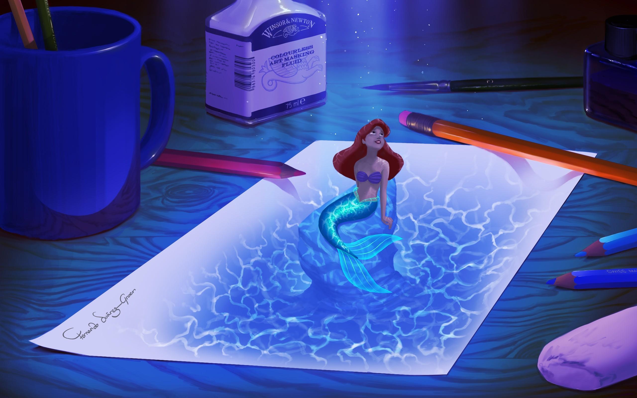 Little Mermaid Ariel Drawing Mermaid Paper wallpaper   .