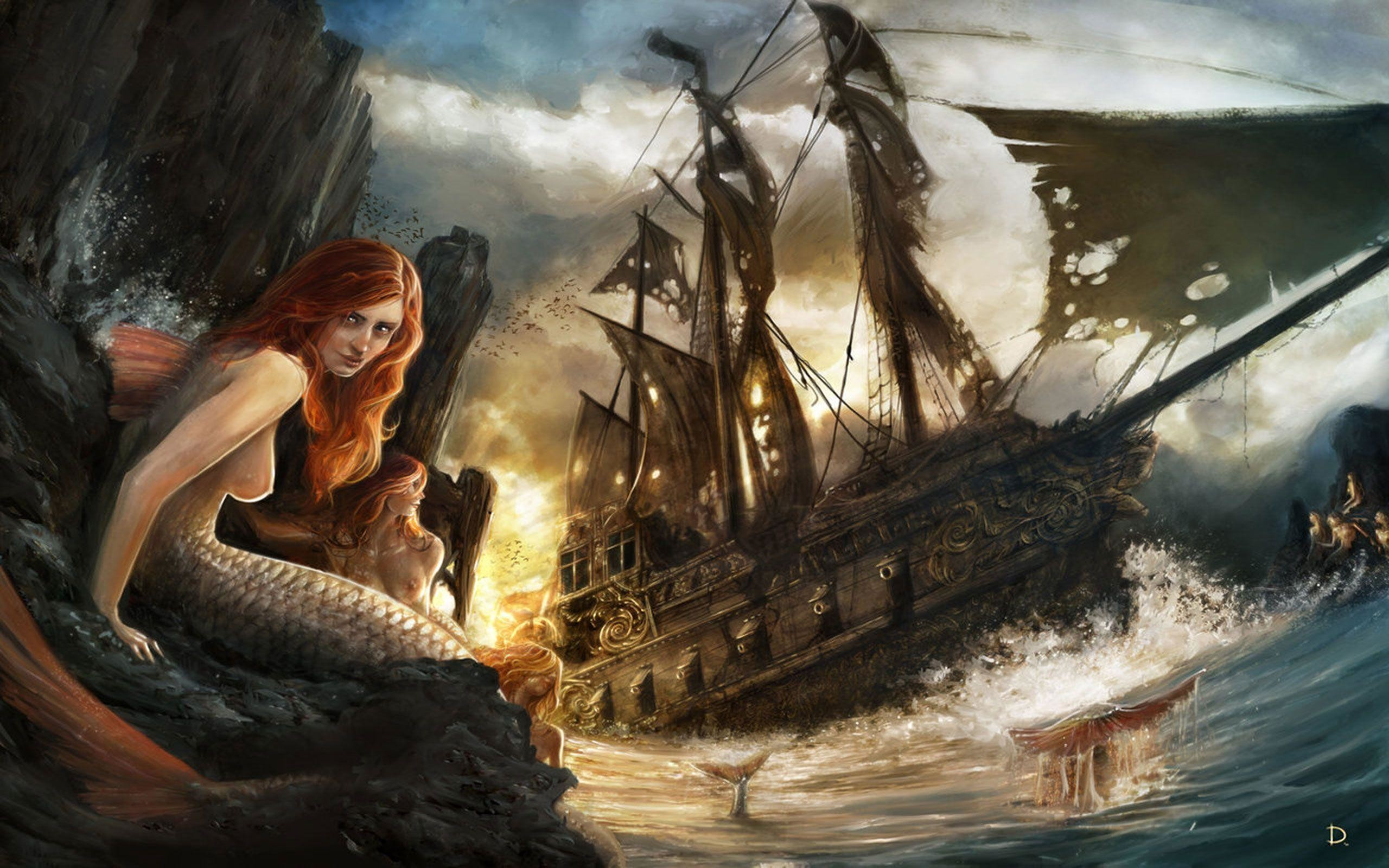 Free Wallpapers – Mermaids And Sinking Ship wallpaper