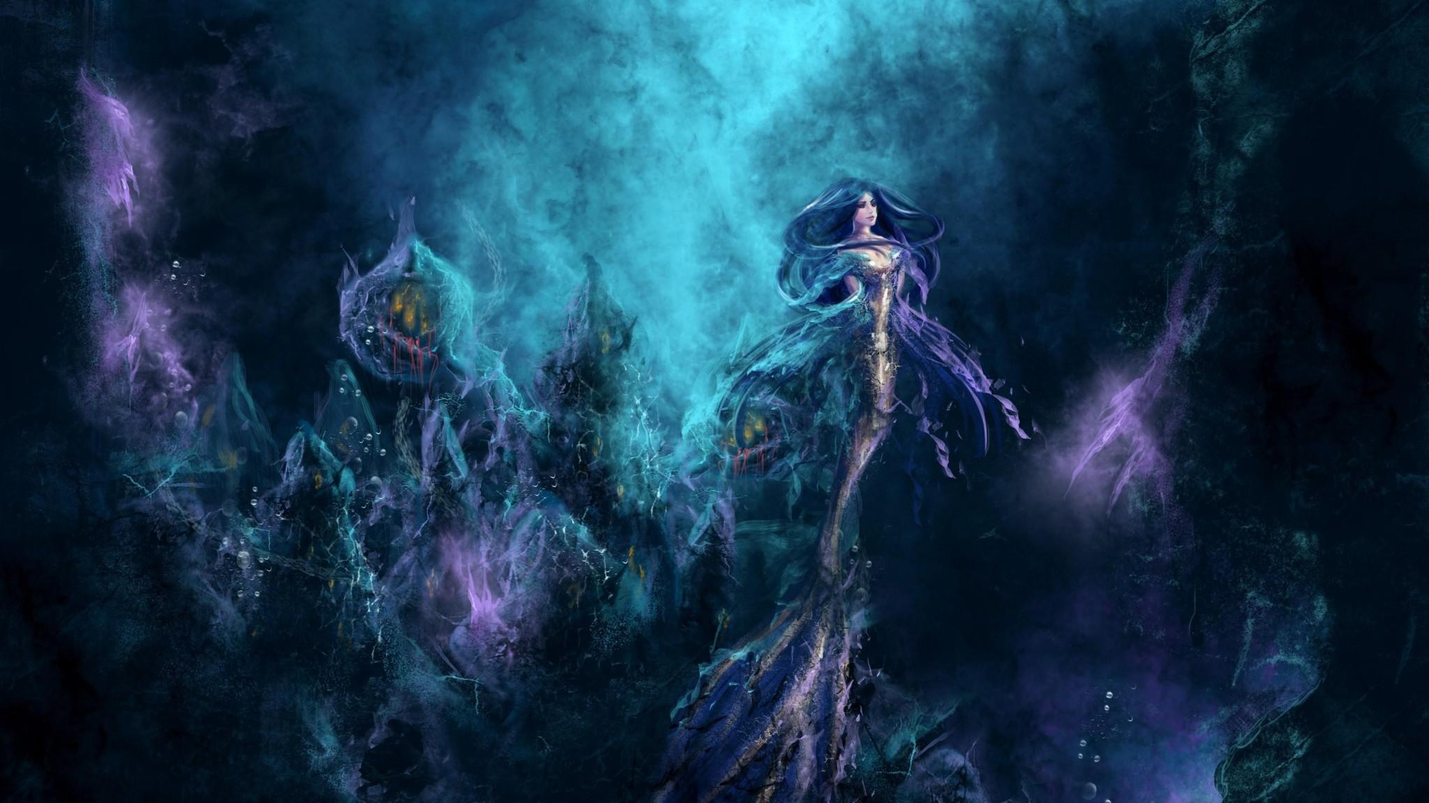 Preview wallpaper mermaid, underwater, water, depth 2048×1152